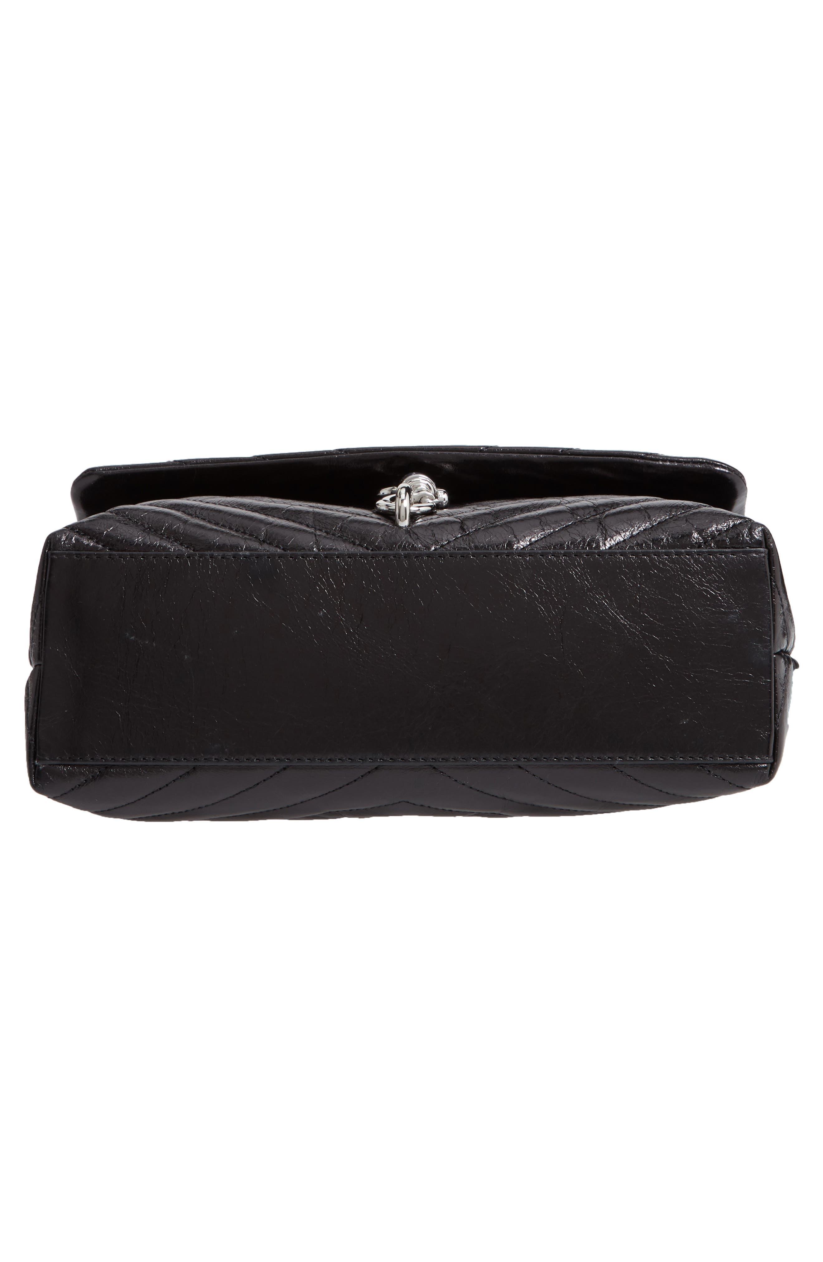 Edie Flap Front Leather Shoulder Bag,                             Alternate thumbnail 6, color,                             BLACK