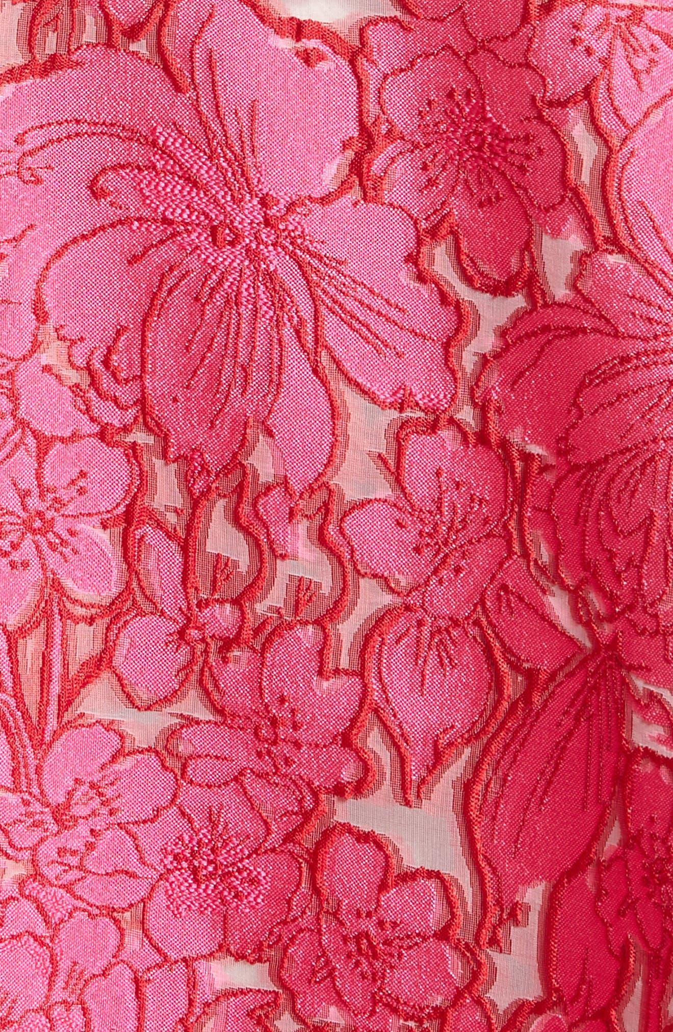 Floral Fil Coupé Fit & Flare Dress,                             Alternate thumbnail 7, color,                             659