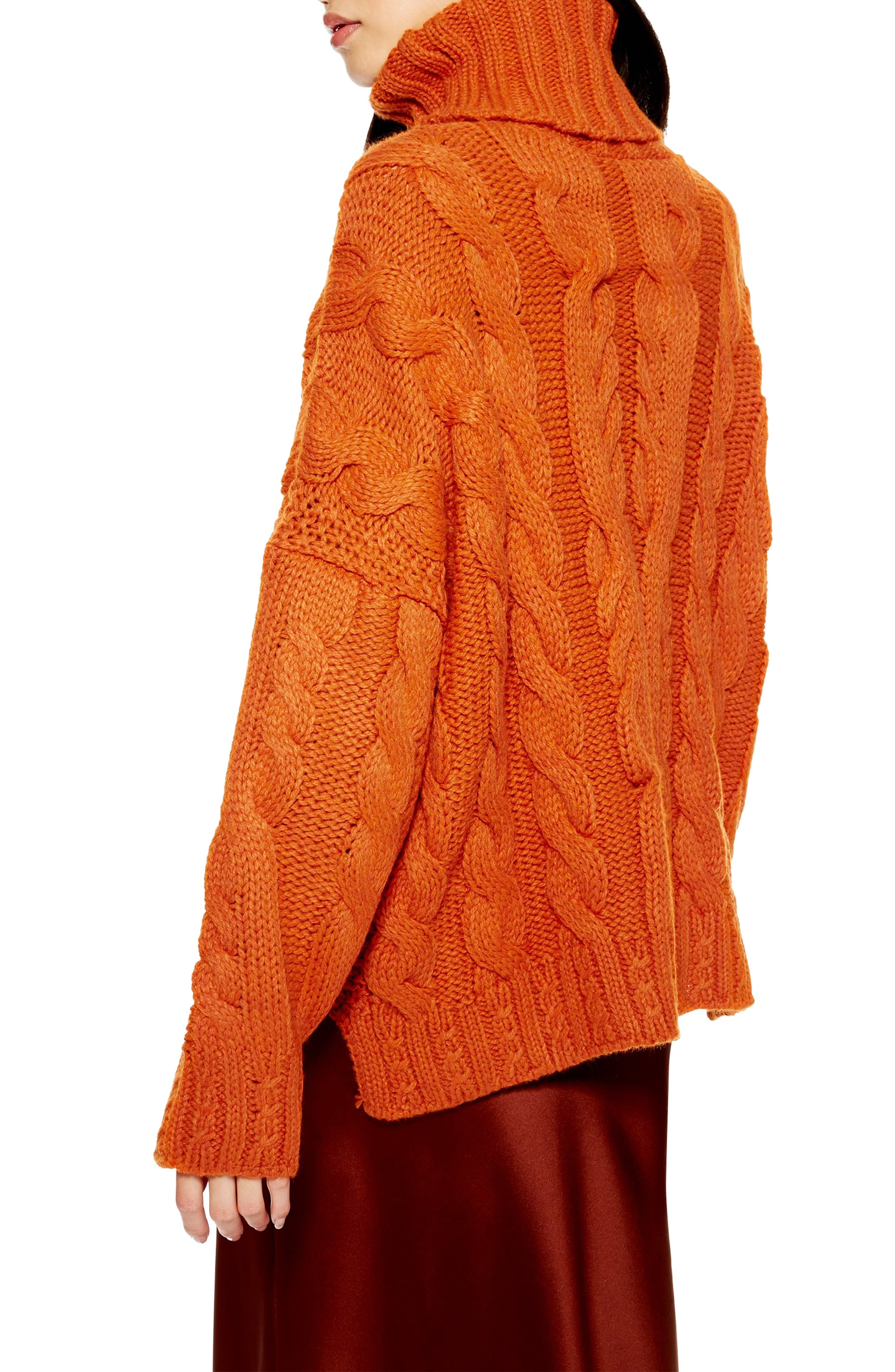TOPSHOP,                             Chunky Cable Turtleneck Sweater,                             Alternate thumbnail 2, color,                             BROWN