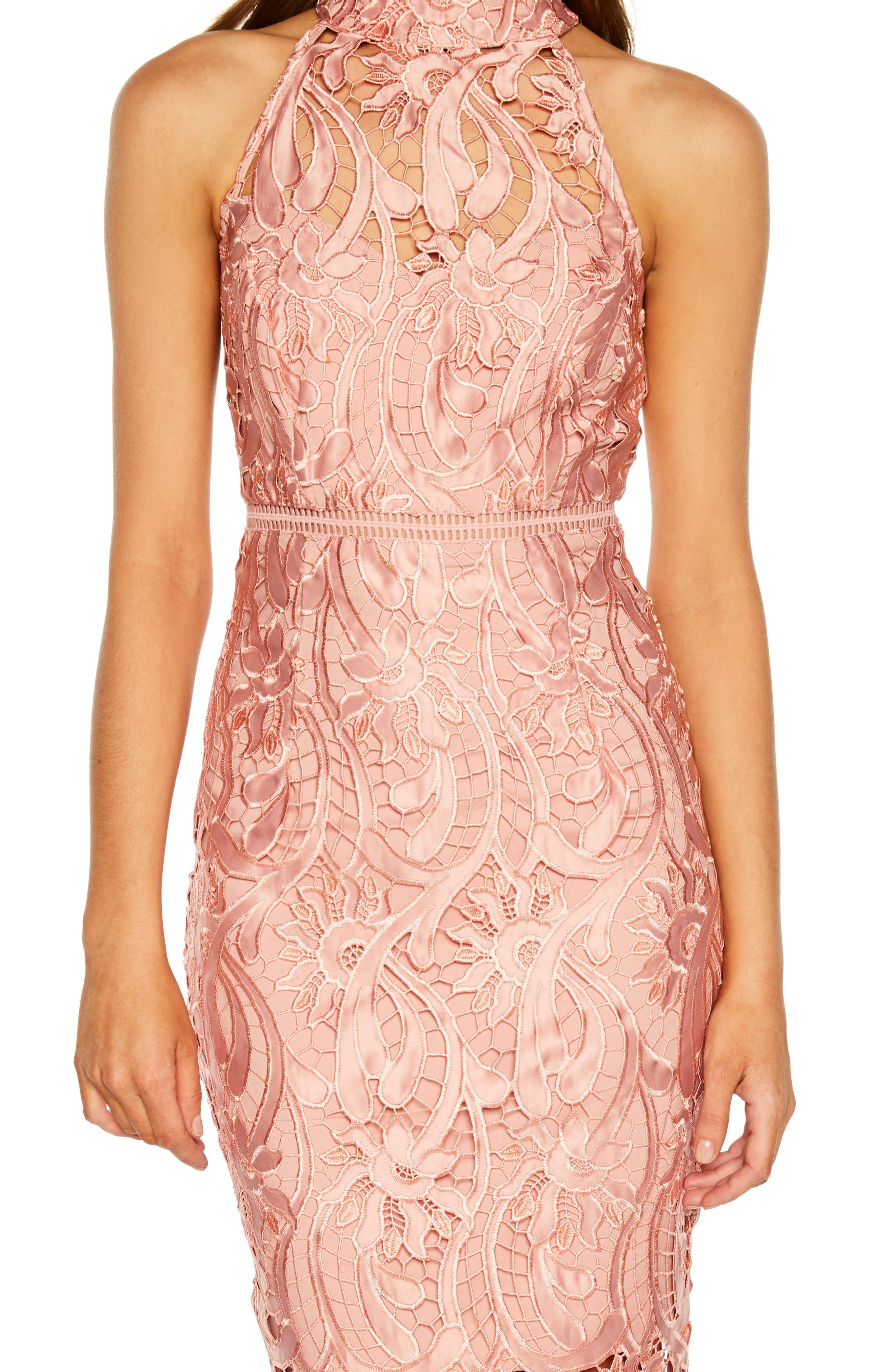Isa Lace Halter Dress,                             Alternate thumbnail 4, color,                             VINTAGE ROSE