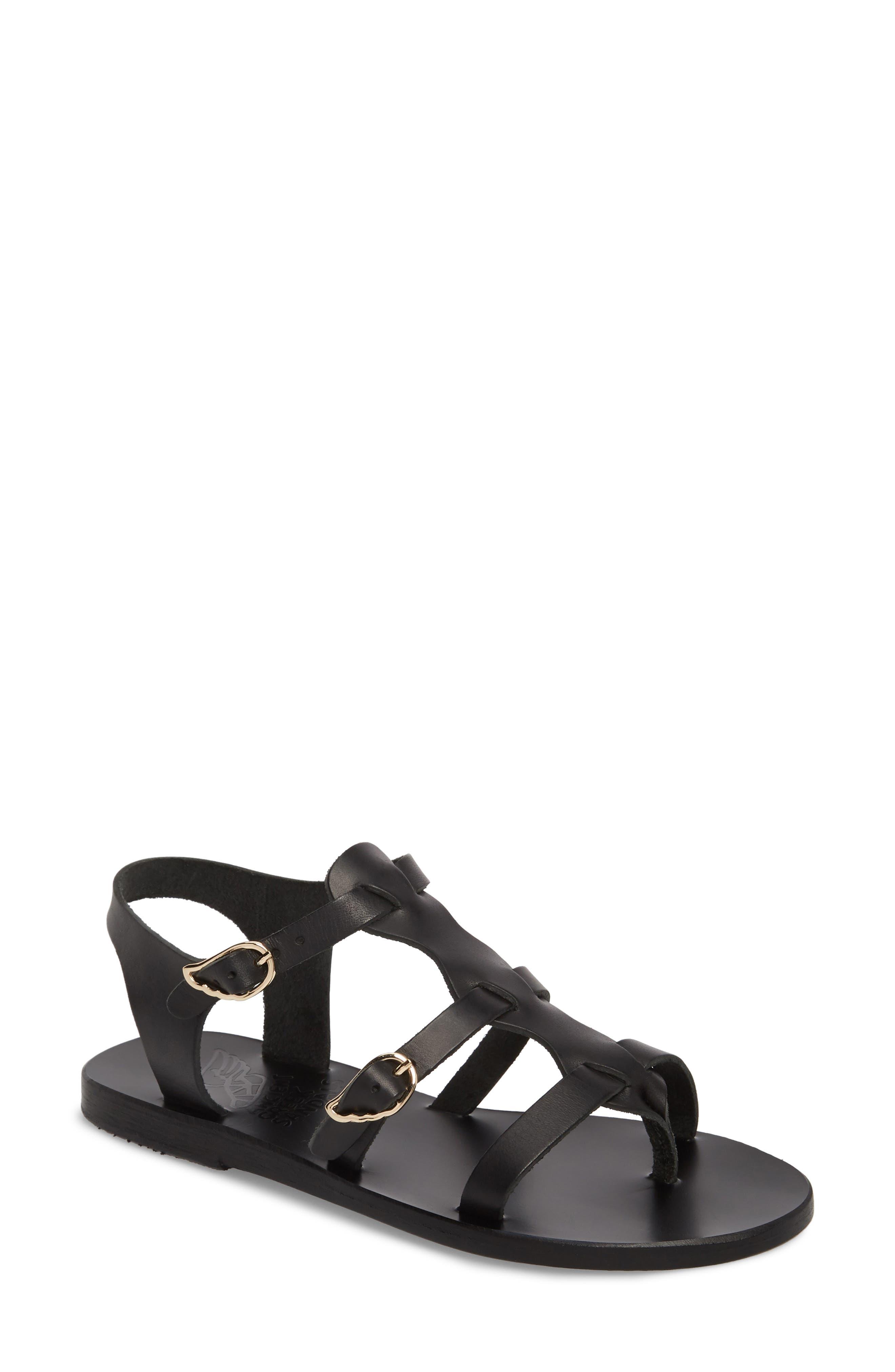 T-Strap Sandal,                         Main,                         color, BLACK