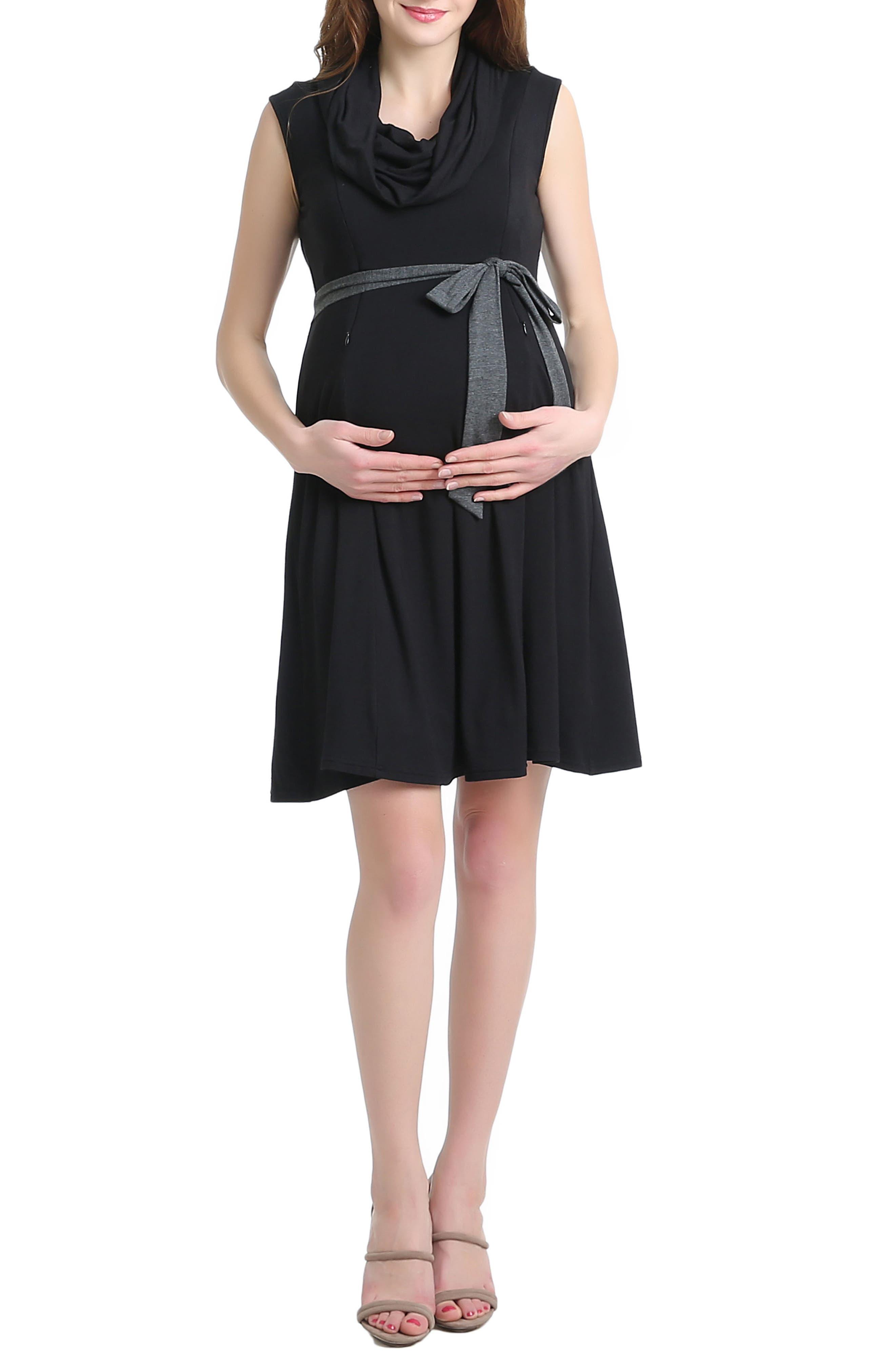 Kimi And Kai Megan Cowl Neck Maternity/nursing Dress, Black