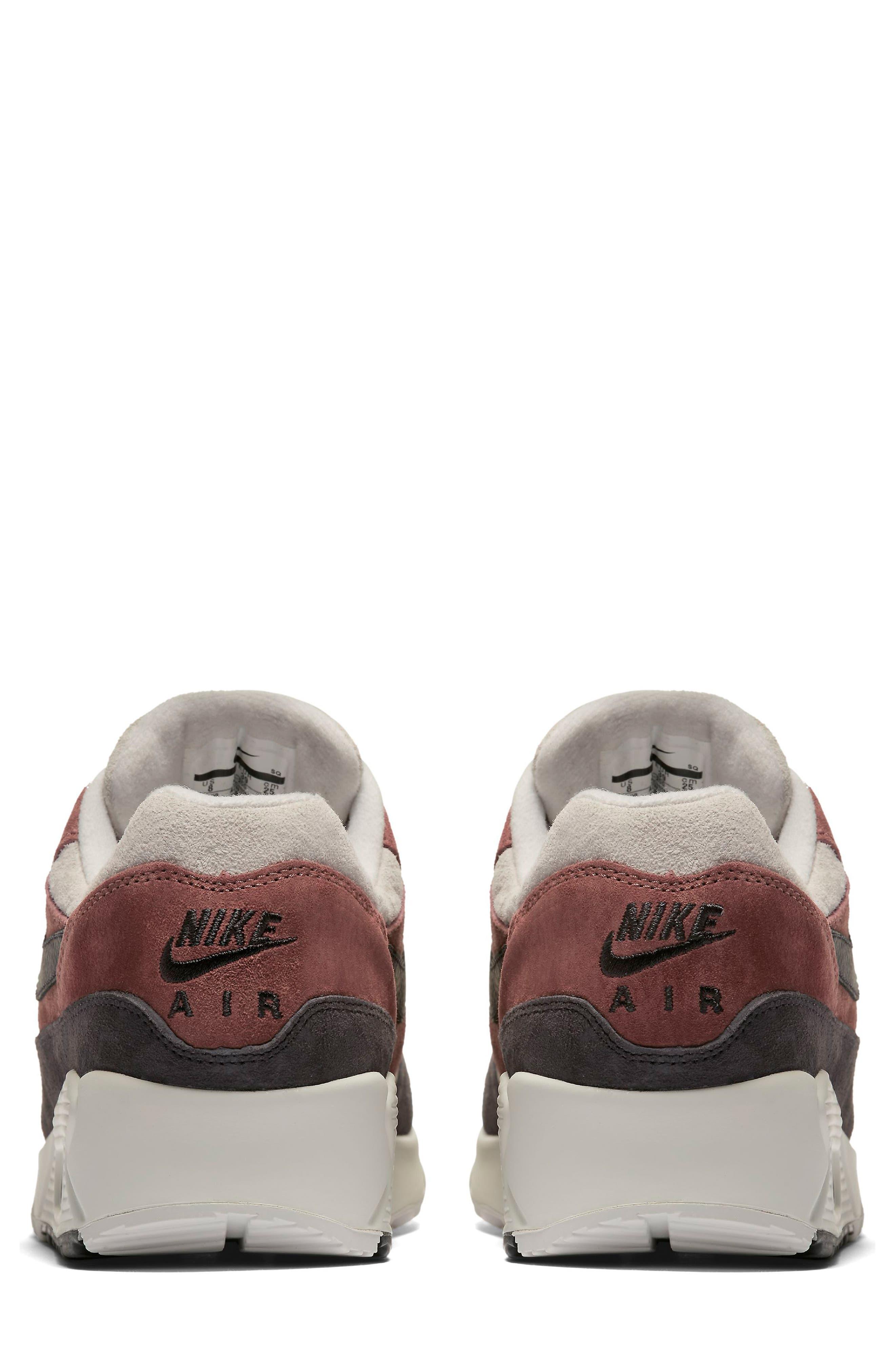 Air Max 90/1 Sneaker,                             Alternate thumbnail 2, color,                             RED SEPIA/ OIL GREY-VAST GREY