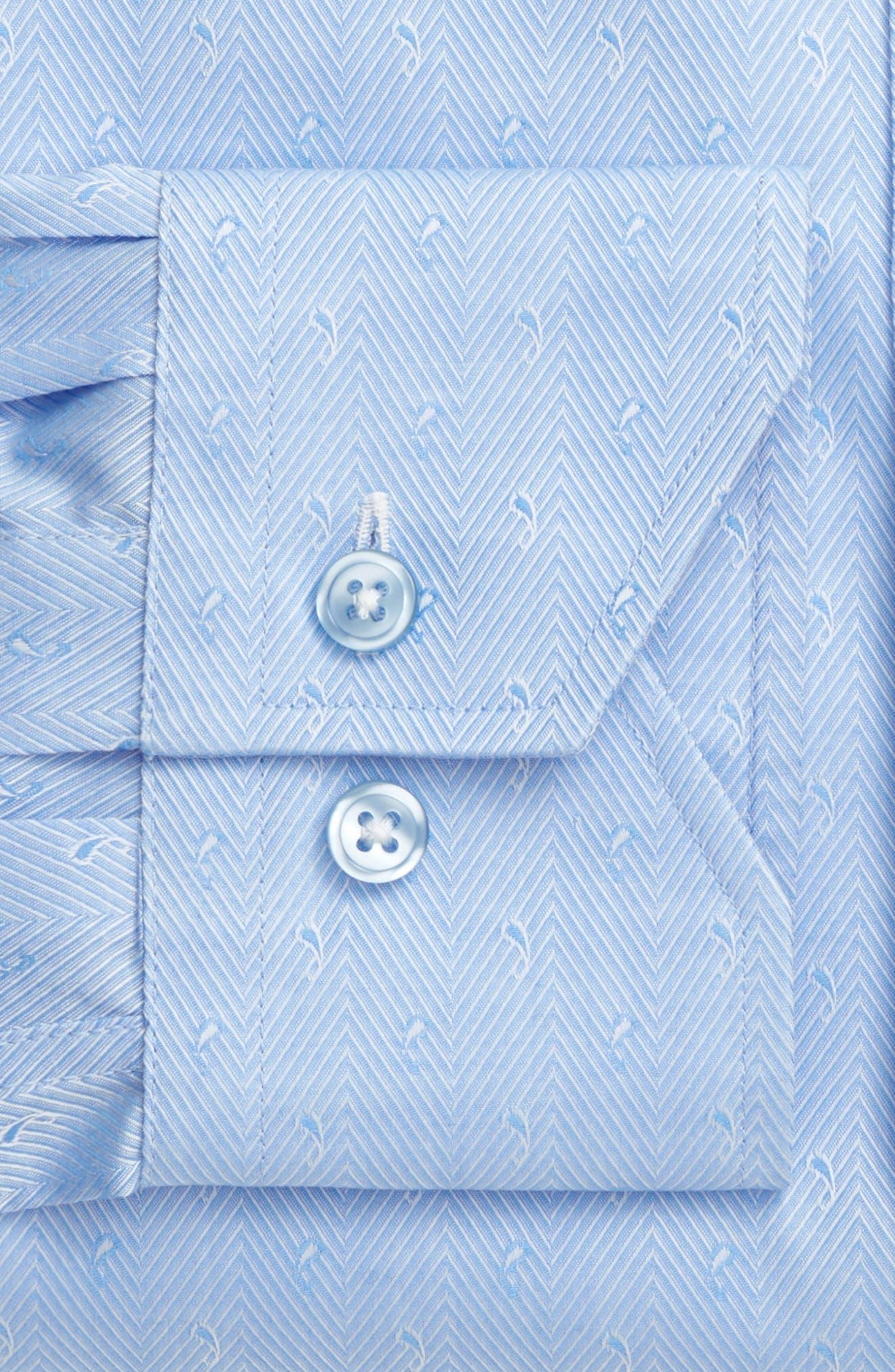 Trim Fit Herringbone Dress Shirt,                             Alternate thumbnail 4, color,                             LIGHT BLUE