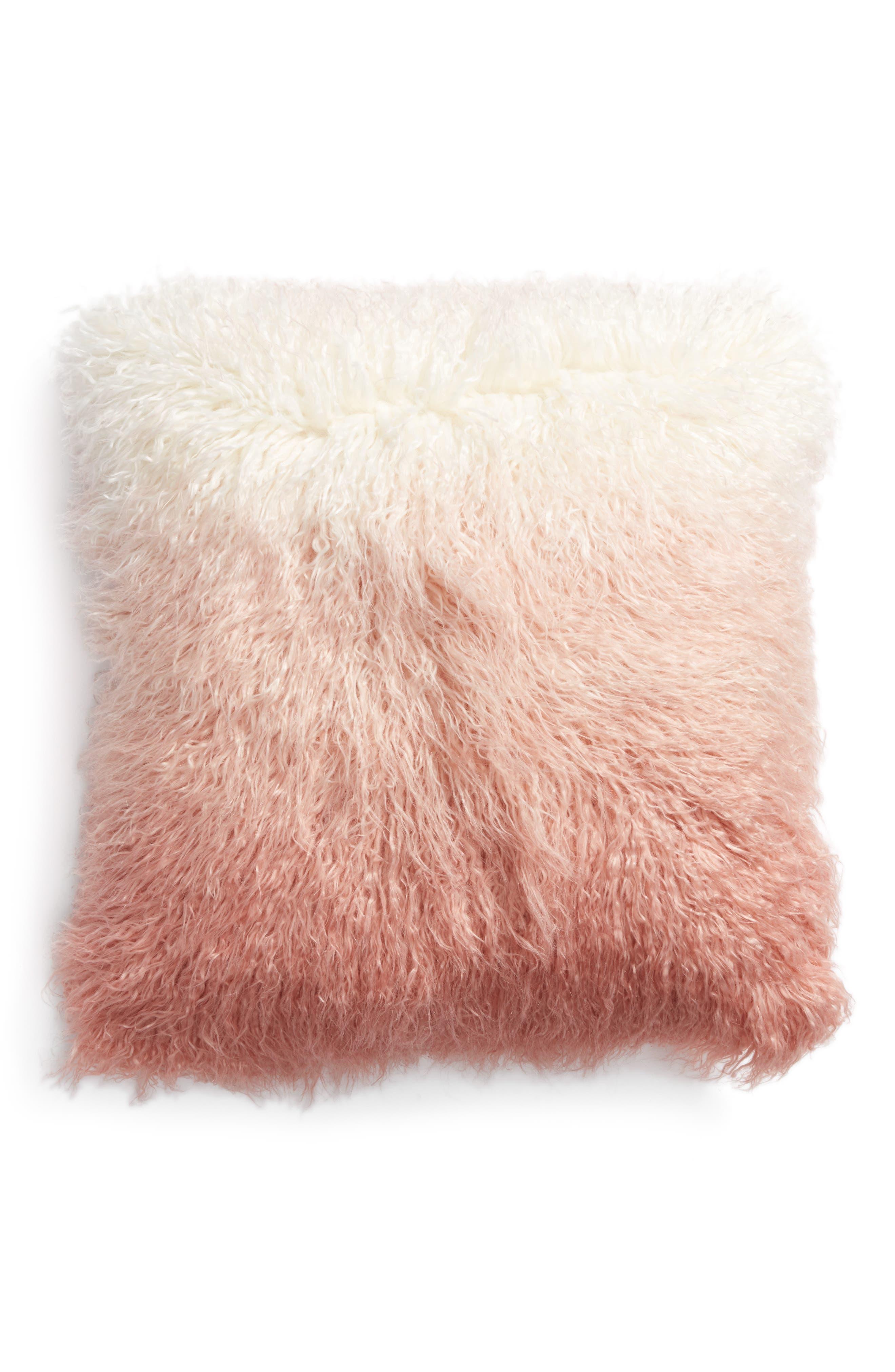 Ombré Faux Fur Flokati Accent Pillow,                             Main thumbnail 4, color,