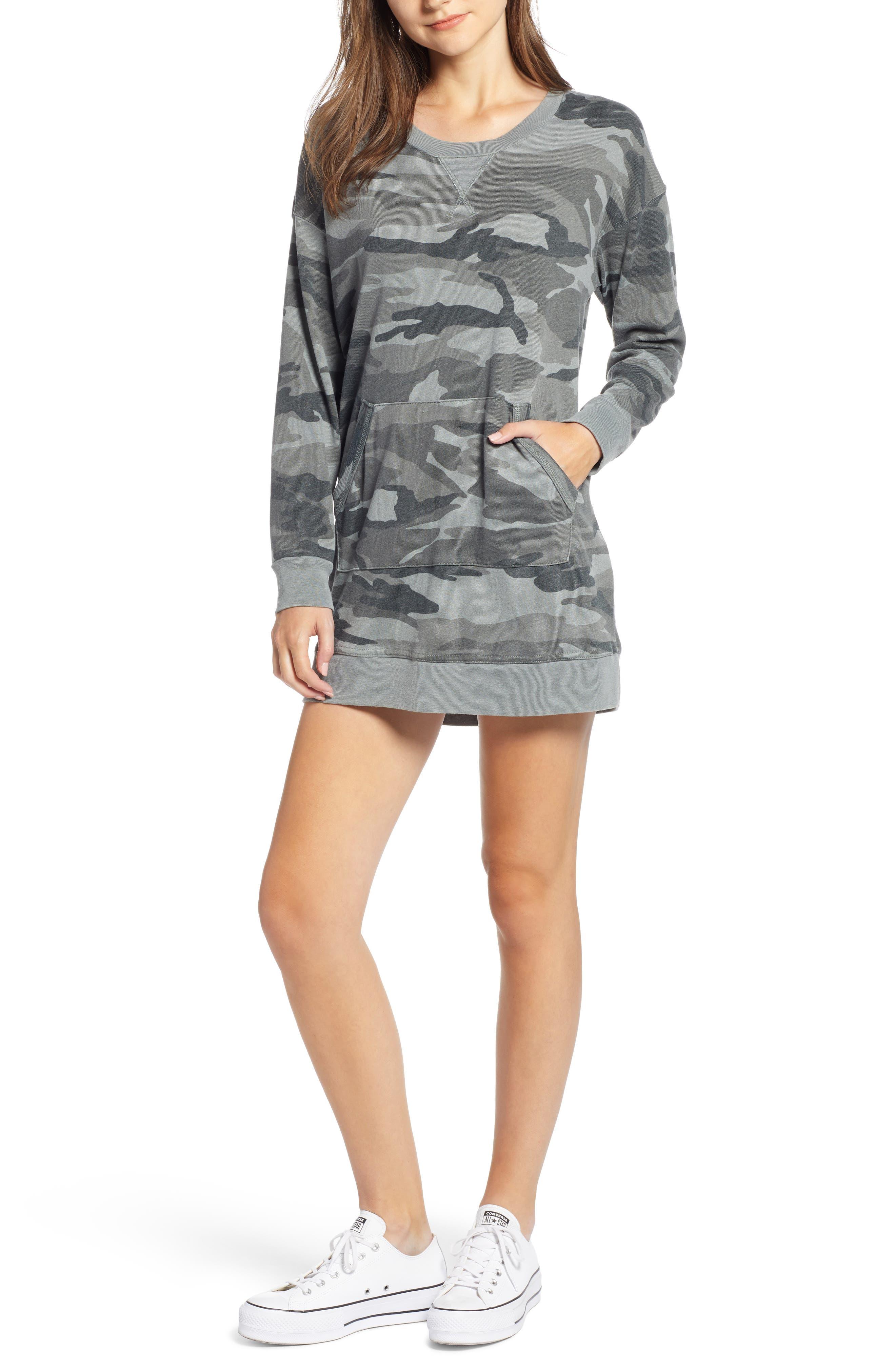 Active Camo Sweatshirt Dress,                         Main,                         color, OLIVE BRANCH