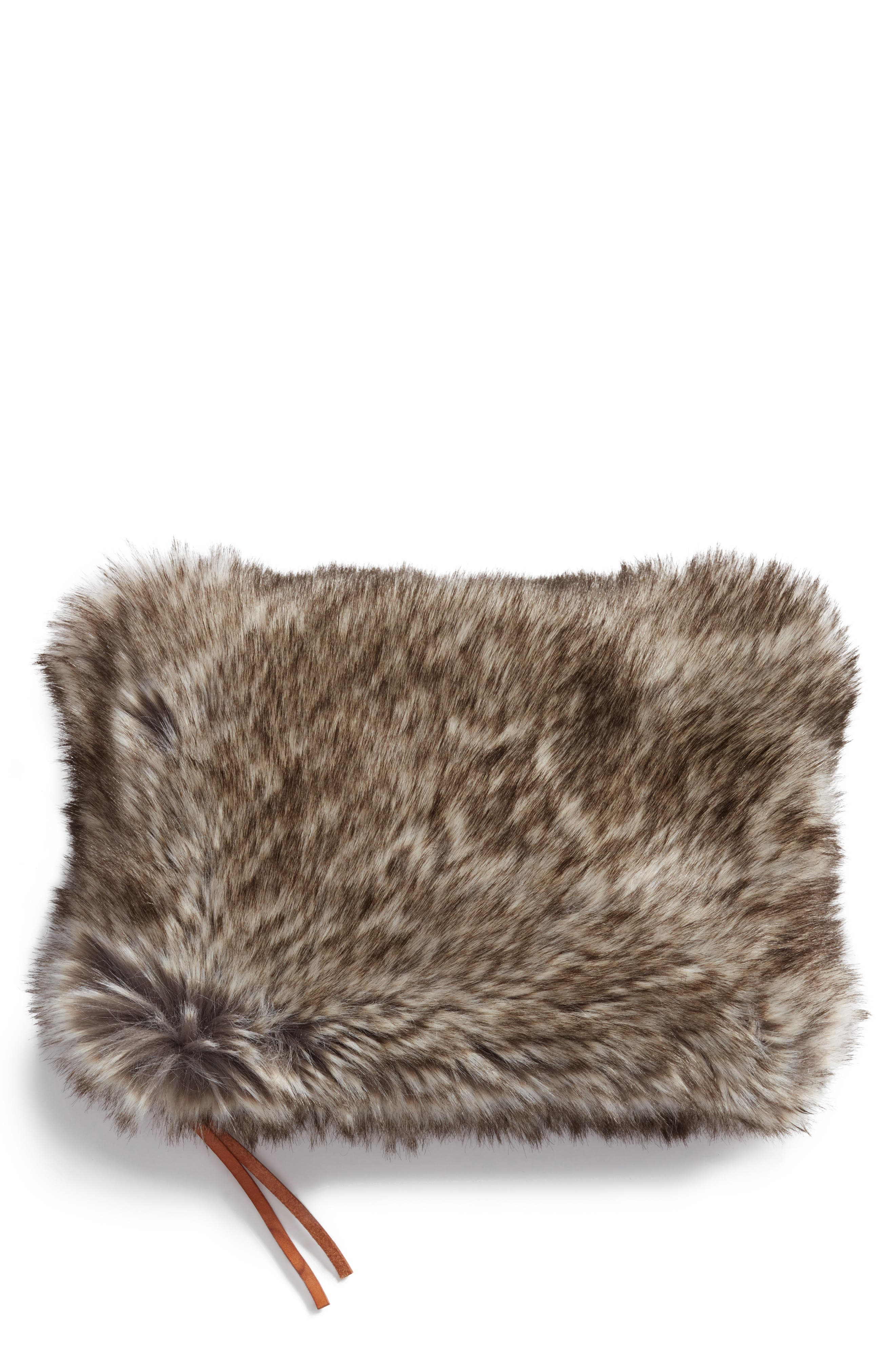 Cuddle Up Faux Fur Pouch,                         Main,                         color, 200