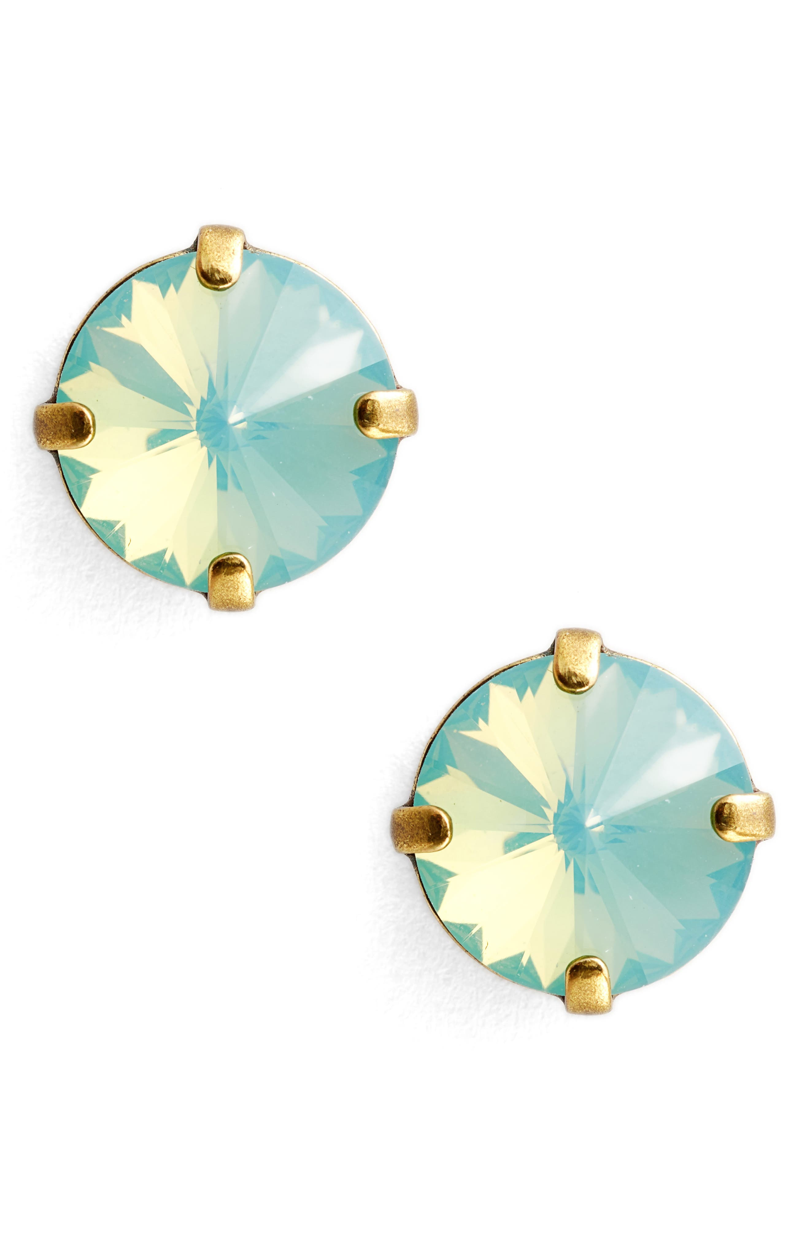 Radiant Rivoli Crystal Earrings,                             Main thumbnail 1, color,                             BLUE-GREEN/ GOLD