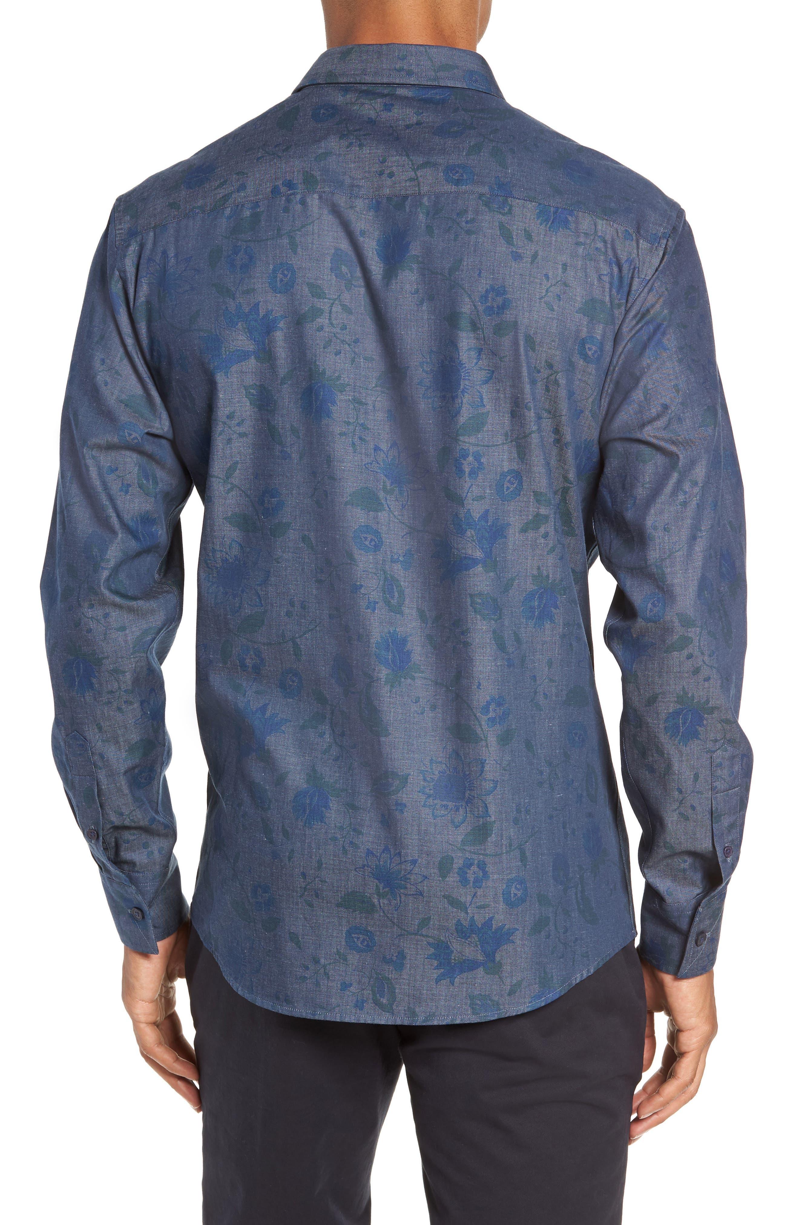 Slim Fit Floral Chambray Sport Shirt,                             Alternate thumbnail 3, color,                             INDIGO CHAMBRAY FLORAL PRINT