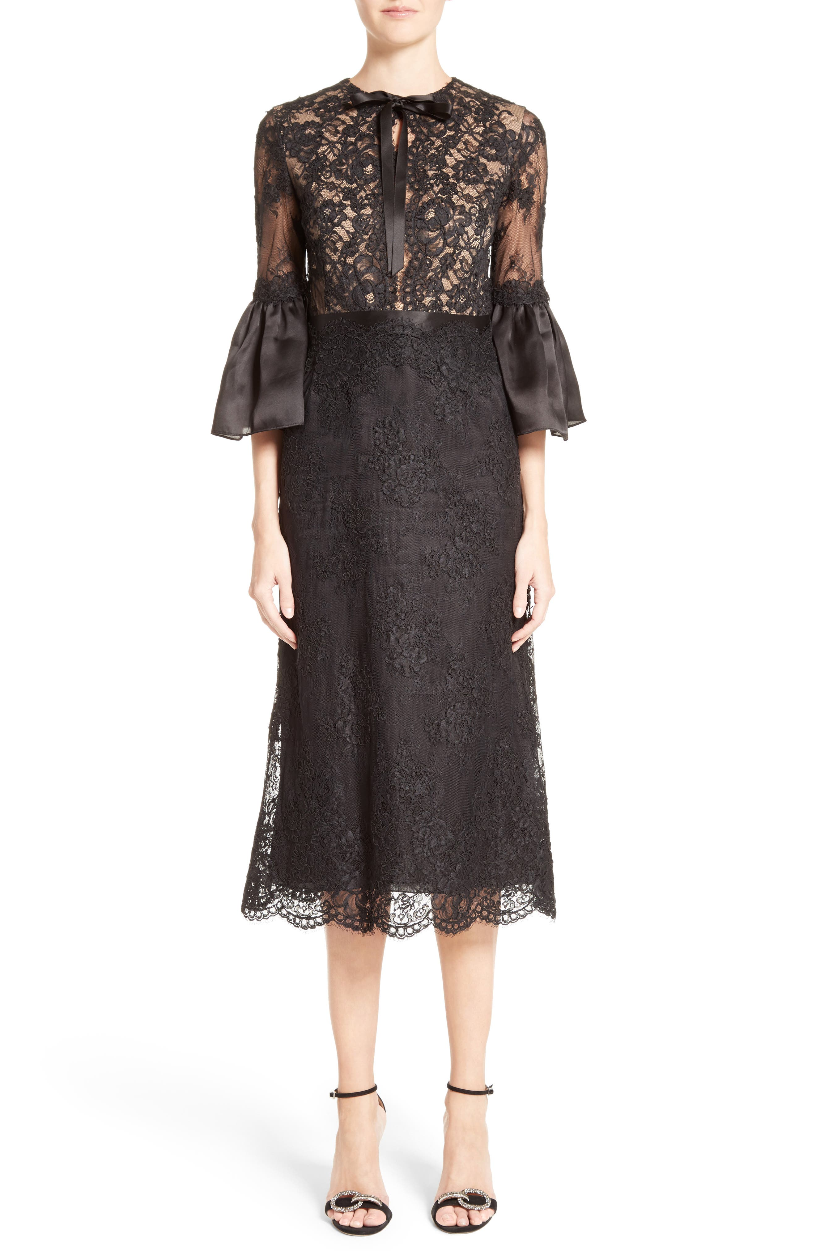 Bell Sleeve Lace Midi Dress,                         Main,                         color, 001
