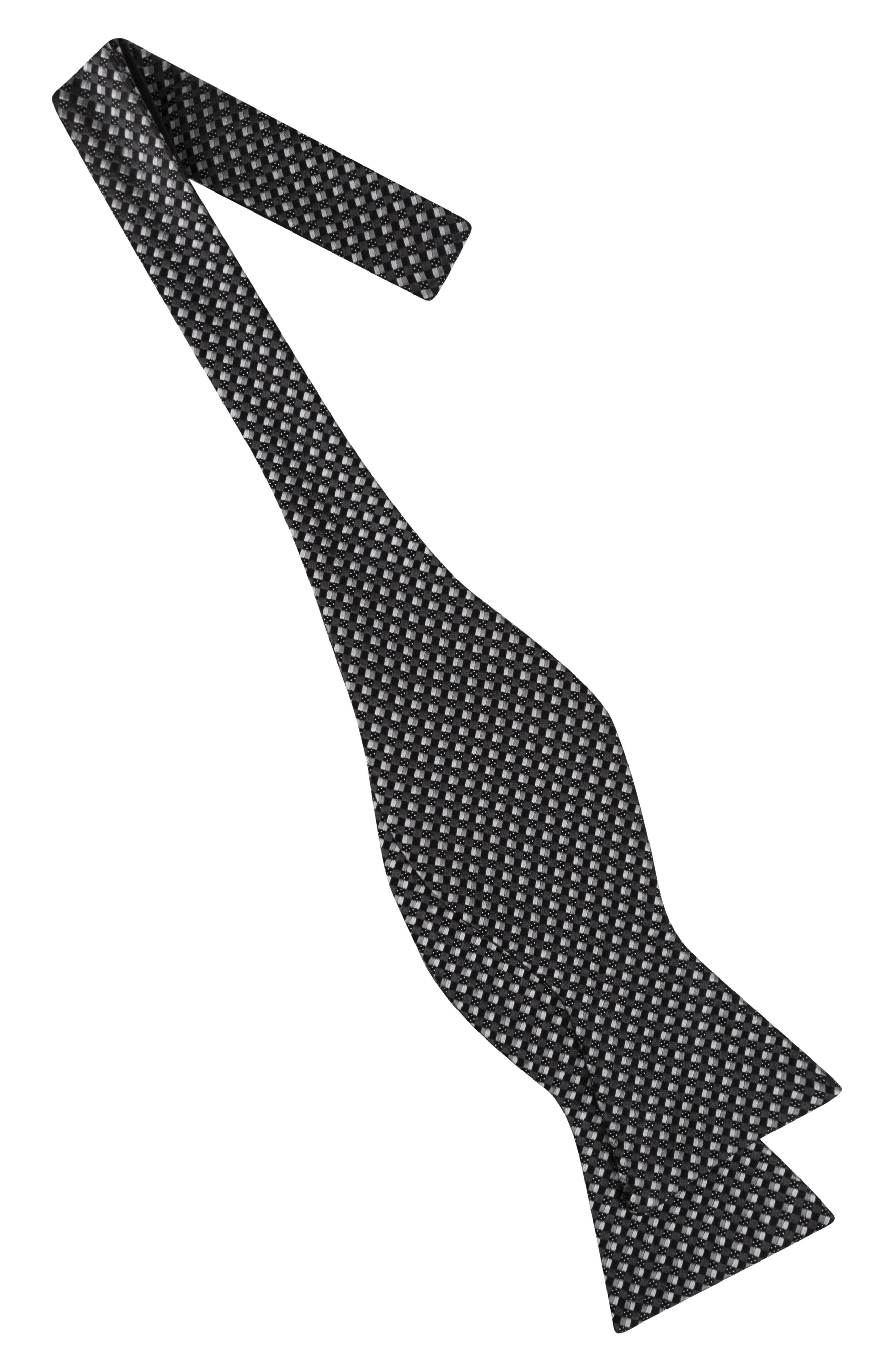 Parquet Square Silk Bow Tie,                             Alternate thumbnail 2, color,                             001