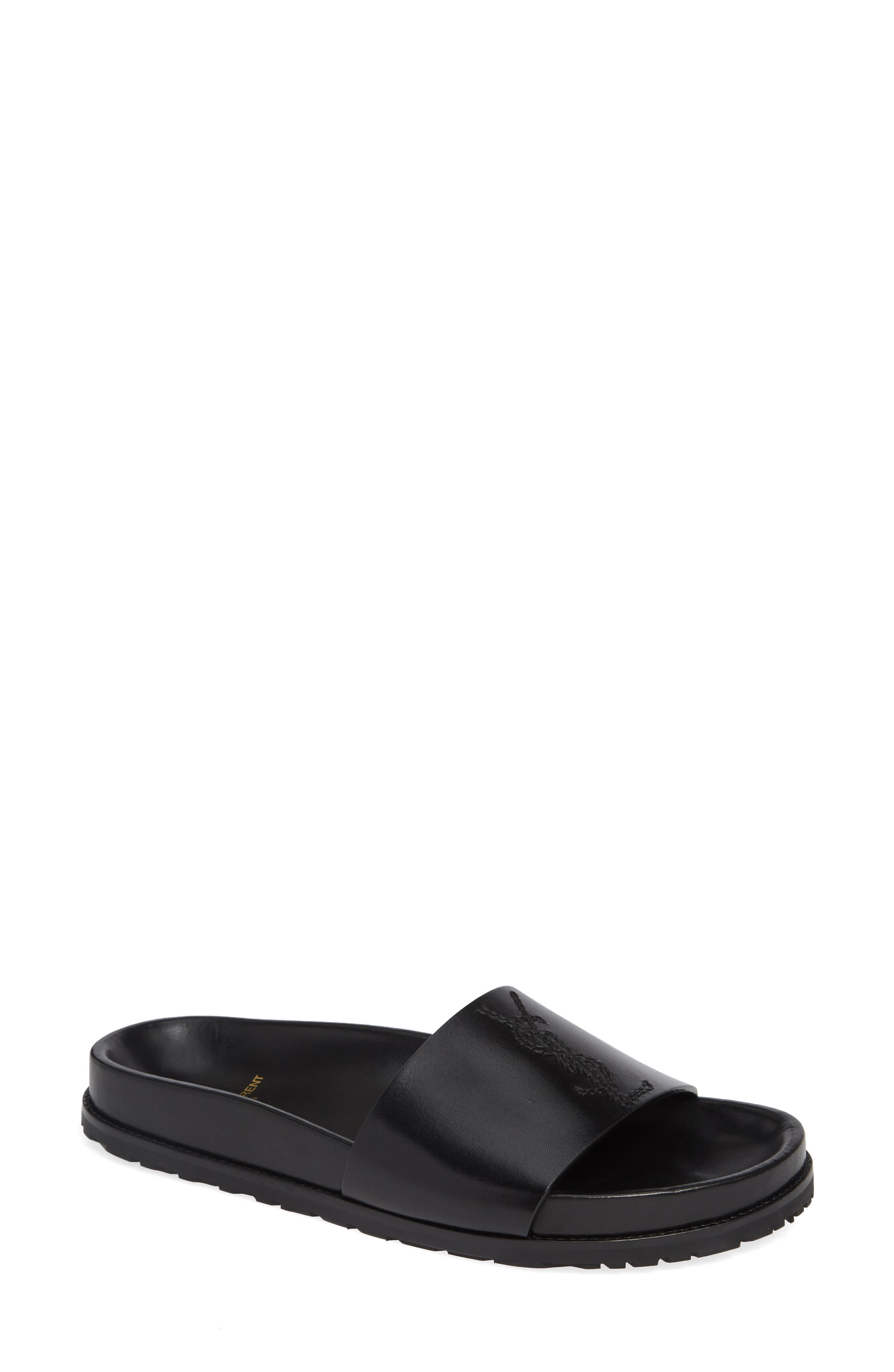Joan Slide Sandal,                         Main,                         color, BLACK