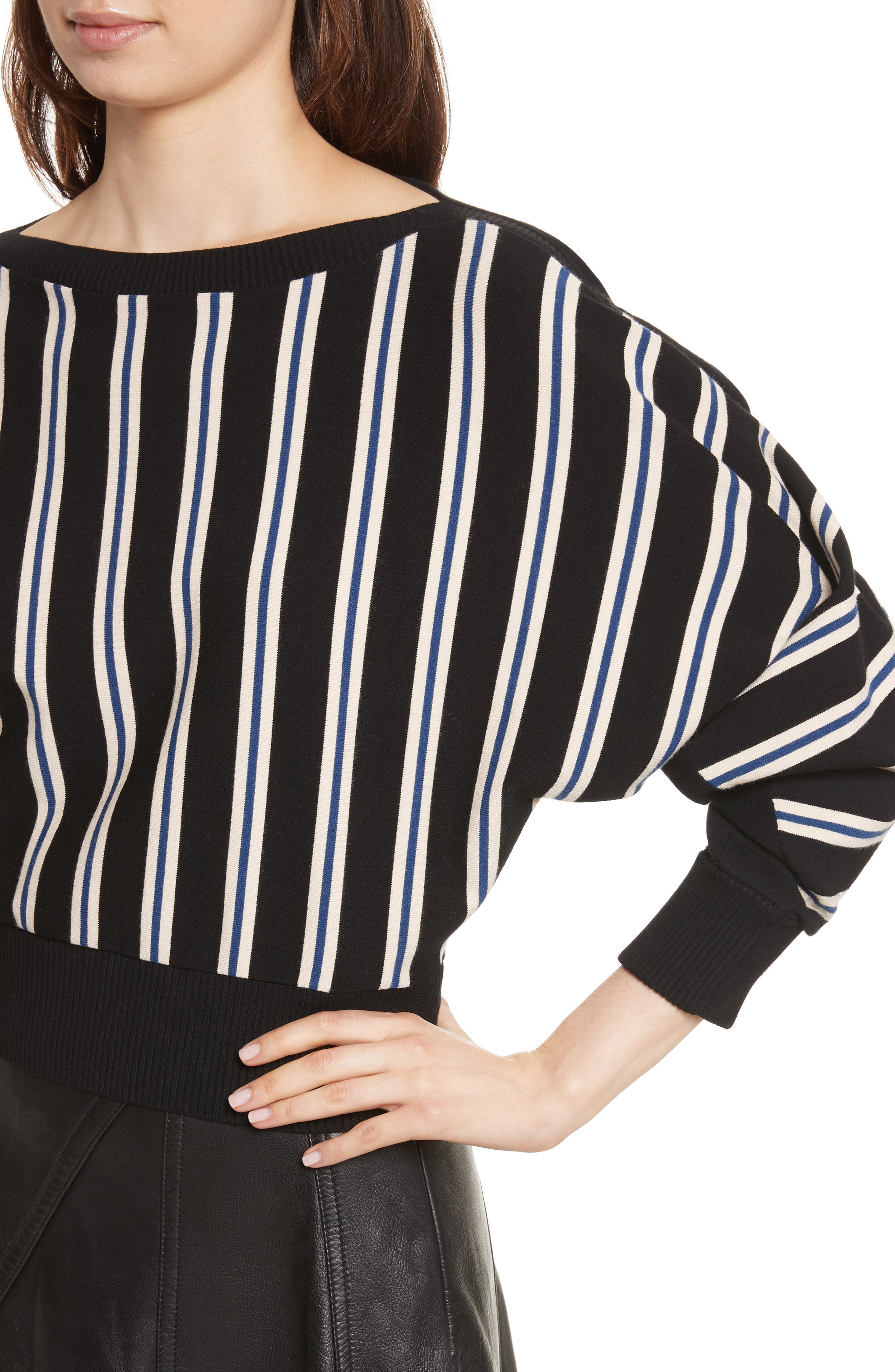 Ottoman Stripe Pullover,                             Alternate thumbnail 4, color,                             001
