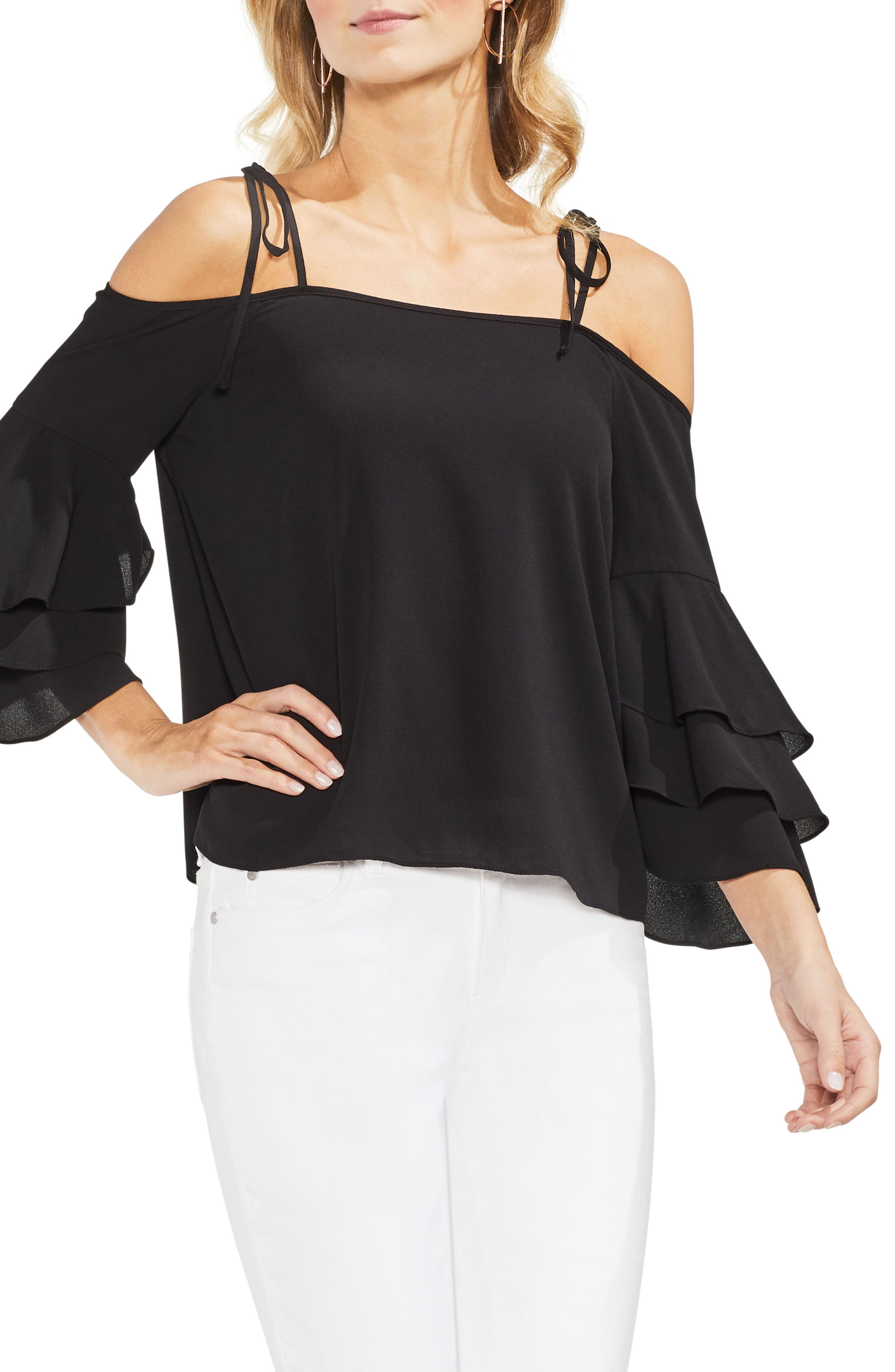 Cold Shoulder Ruffle Sleeve Top,                         Main,                         color, 001