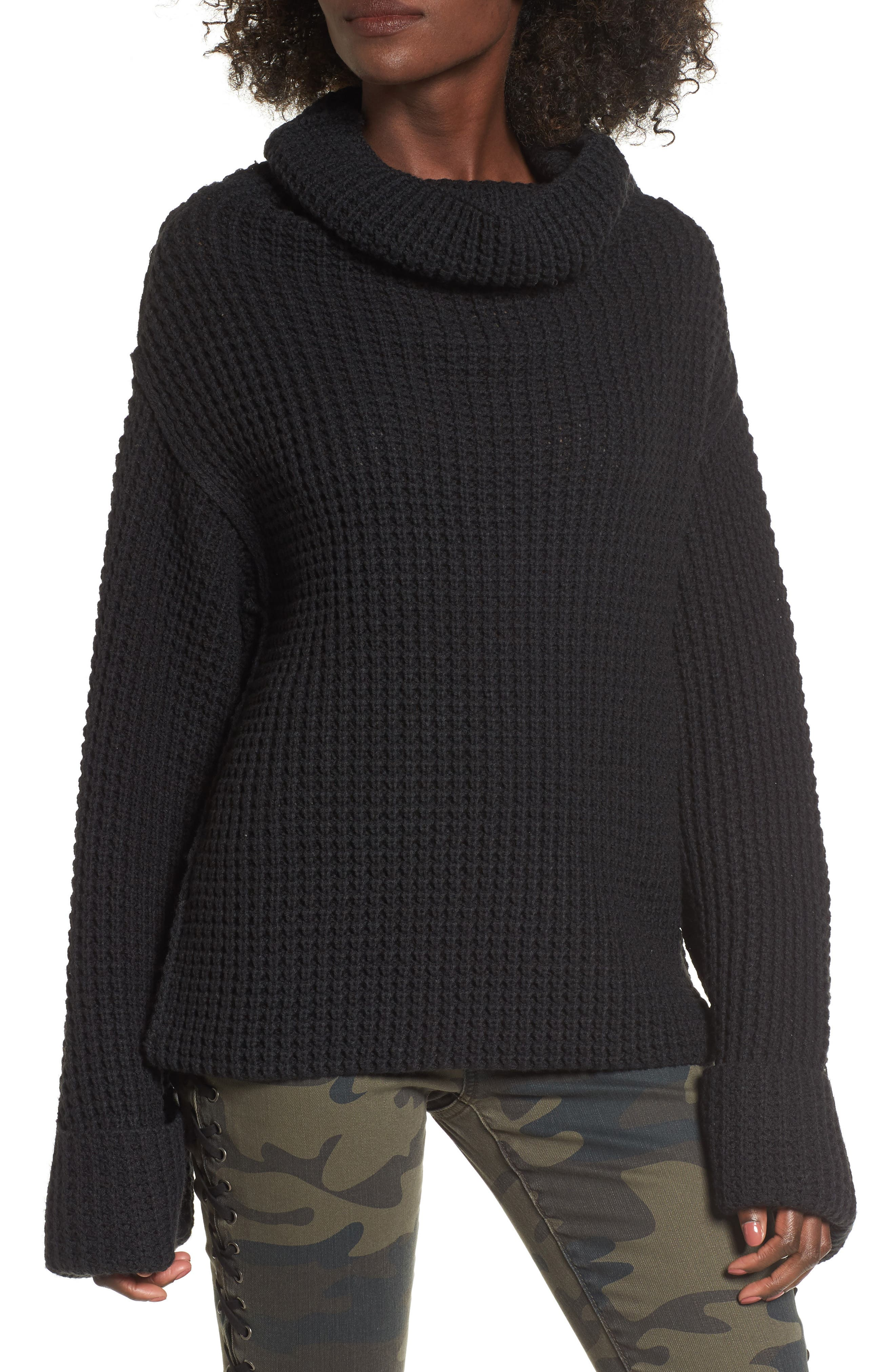 Cowl Neck Thermal Stitch Sweater,                             Main thumbnail 1, color,                             001