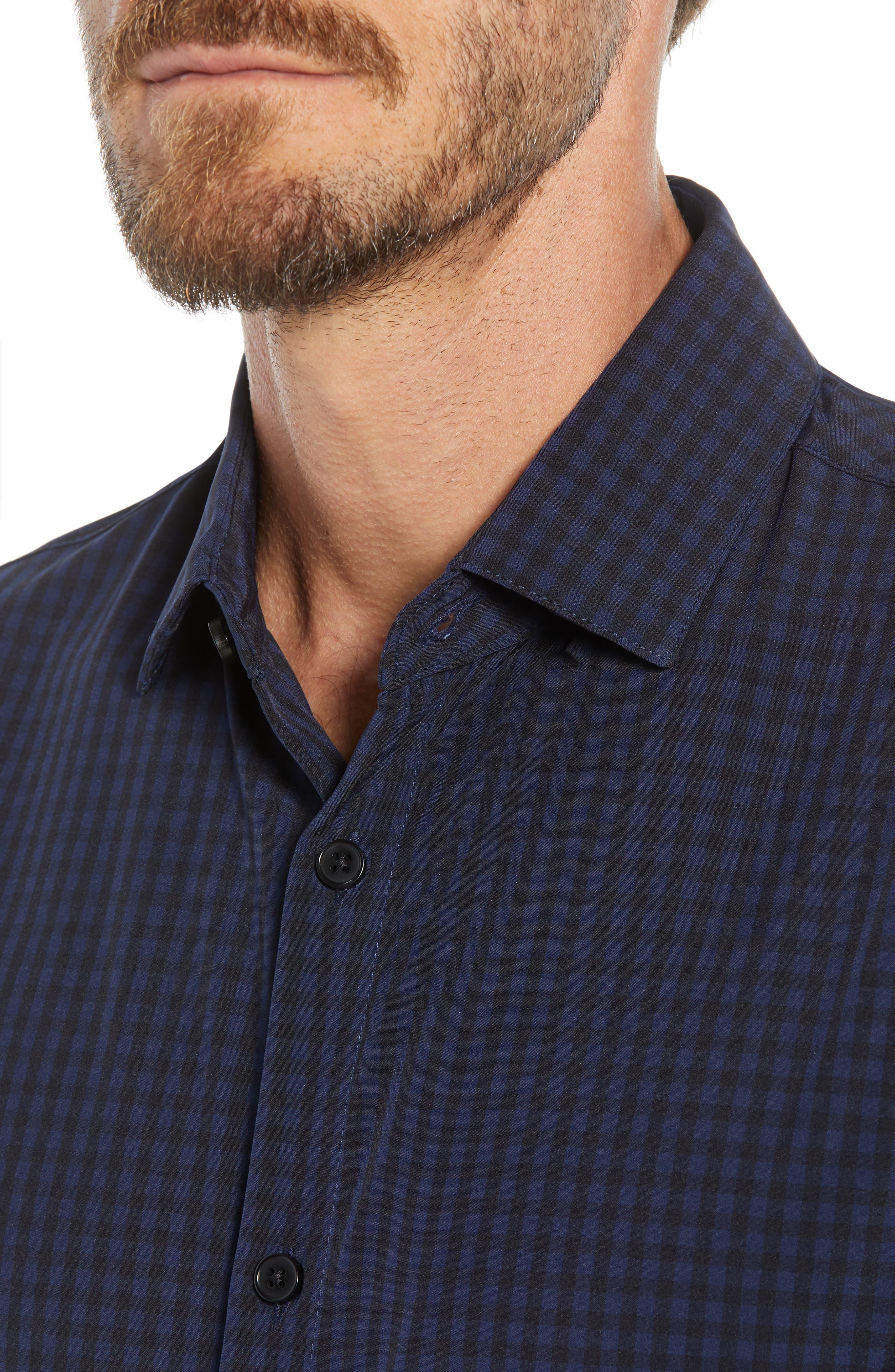 Burns Slim Fit Check Performance Sport Shirt,                             Alternate thumbnail 2, color,                             BLACK
