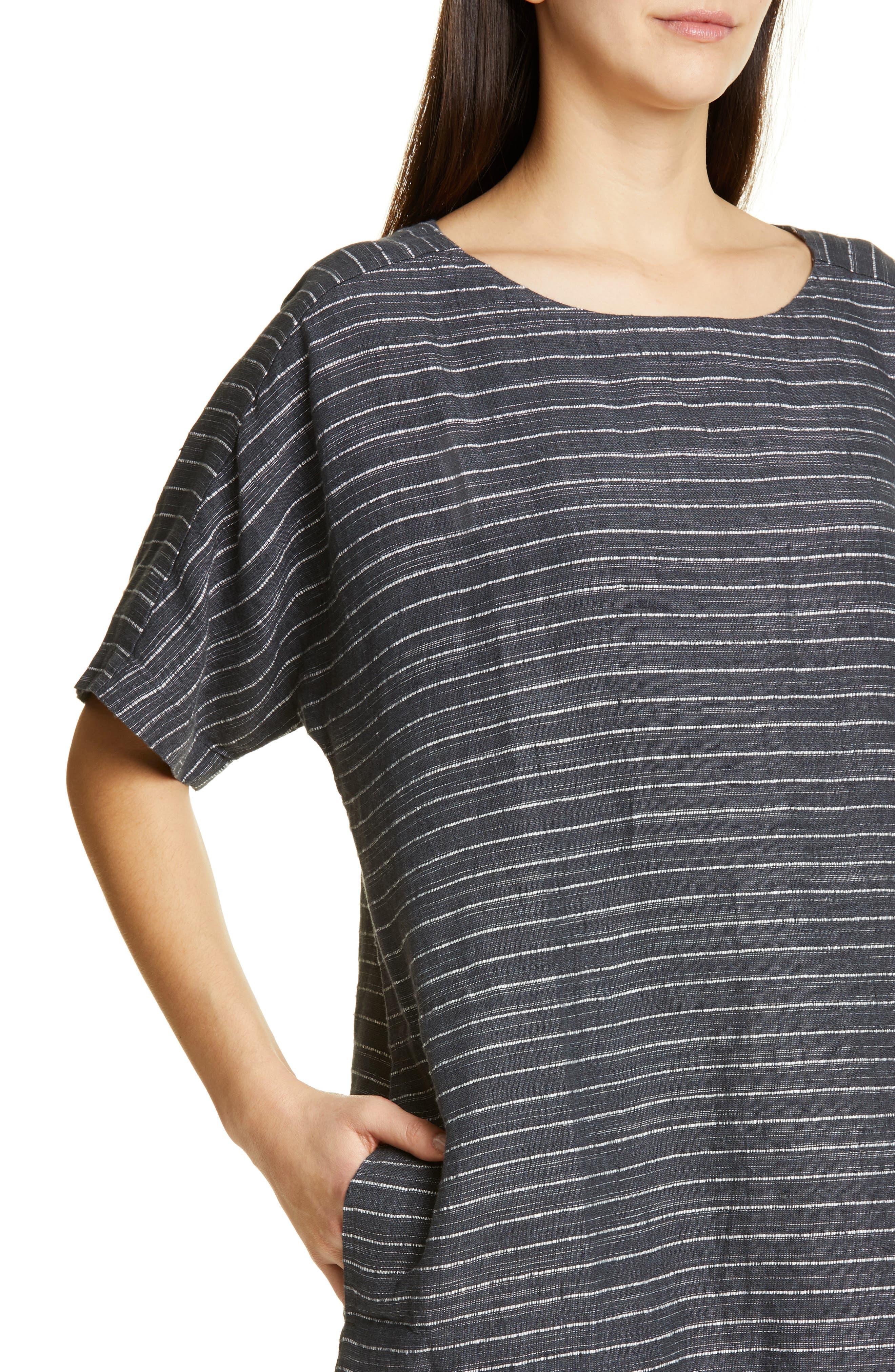 EILEEN FISHER,                             Stripe Linen Tunic Dress,                             Alternate thumbnail 4, color,                             GRAPHITE