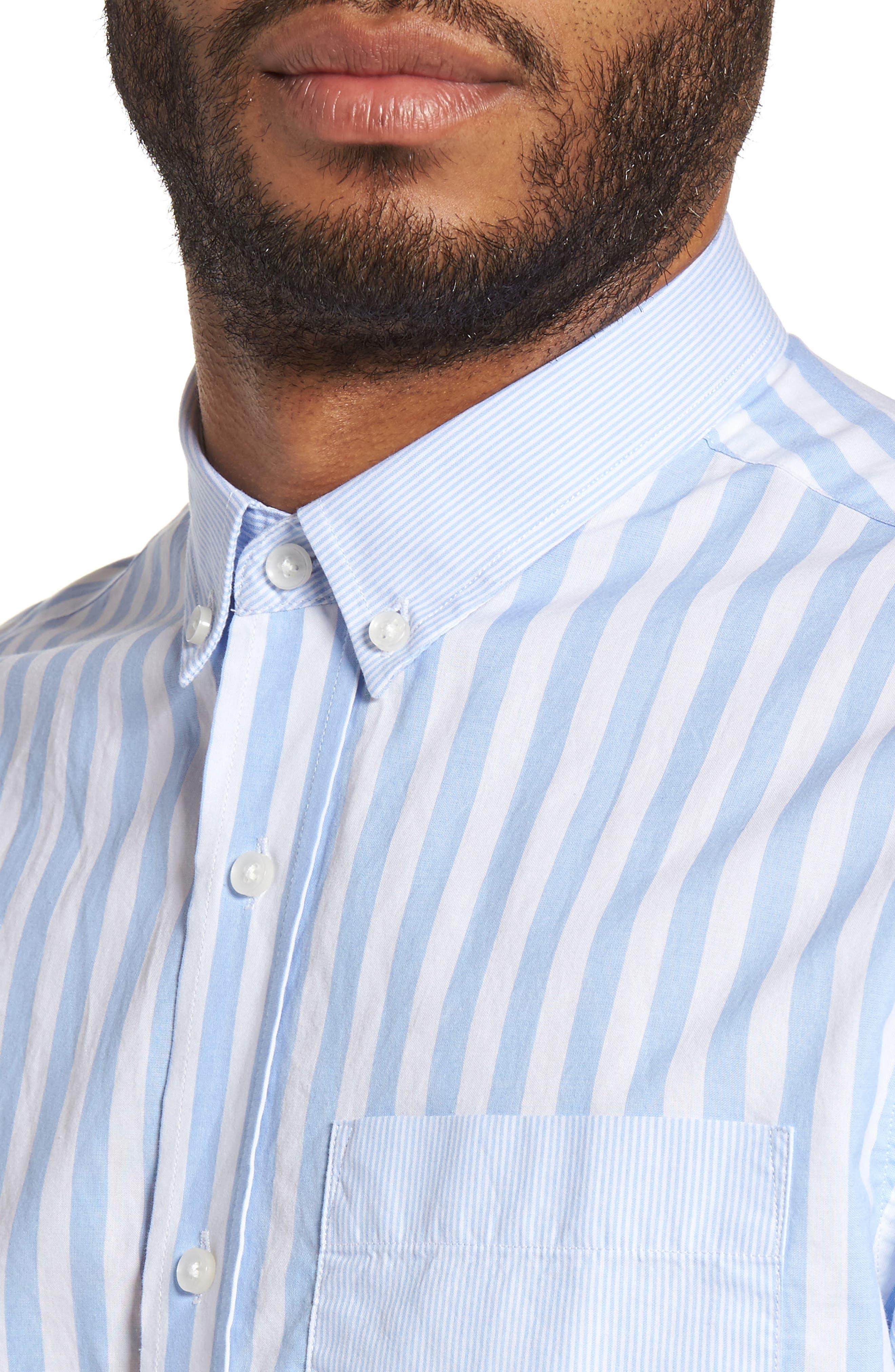 Slim Fit Stripe Sport Shirt,                             Alternate thumbnail 4, color,                             451