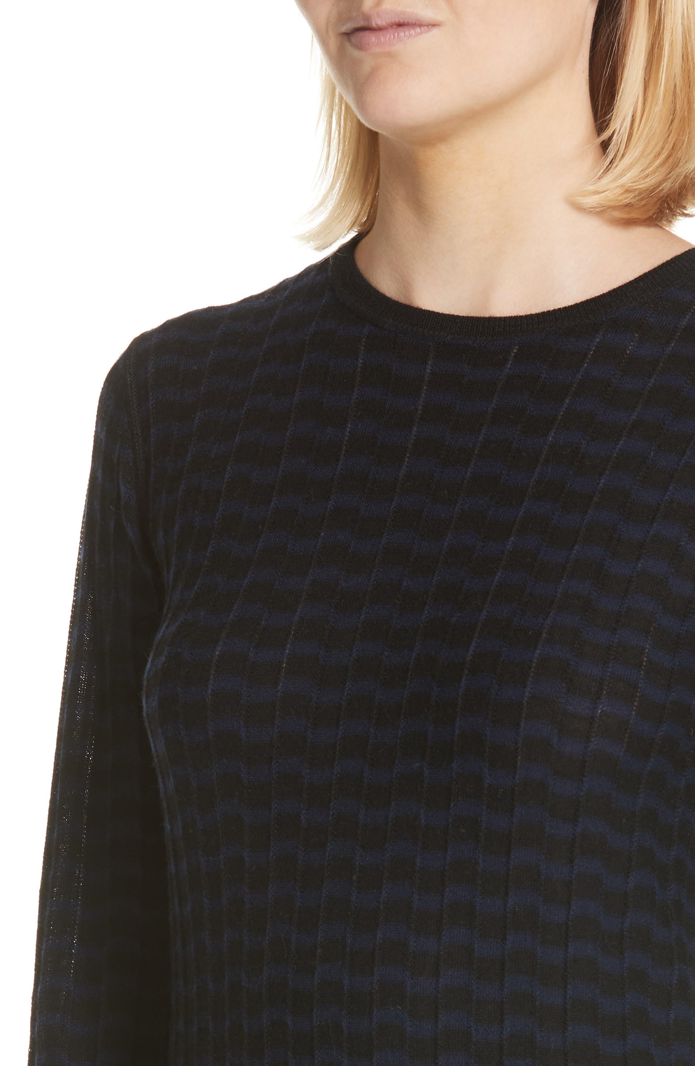 Stripe Wool Sweater-Dress,                             Alternate thumbnail 4, color,                             400