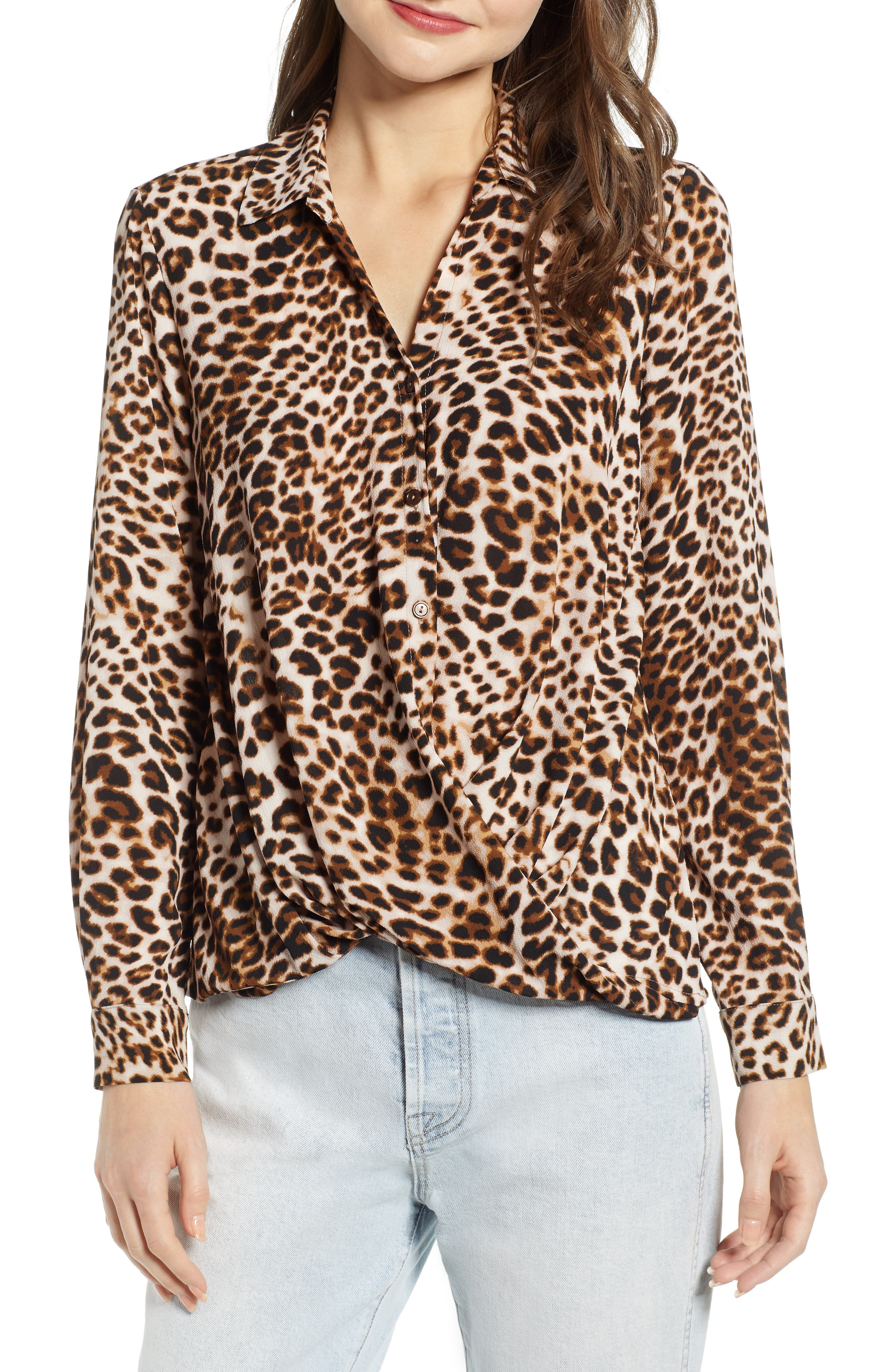 ALL IN FAVOR,                             Patterned Drape Front Blouse,                             Main thumbnail 1, color,                             LEOPARD PRINT