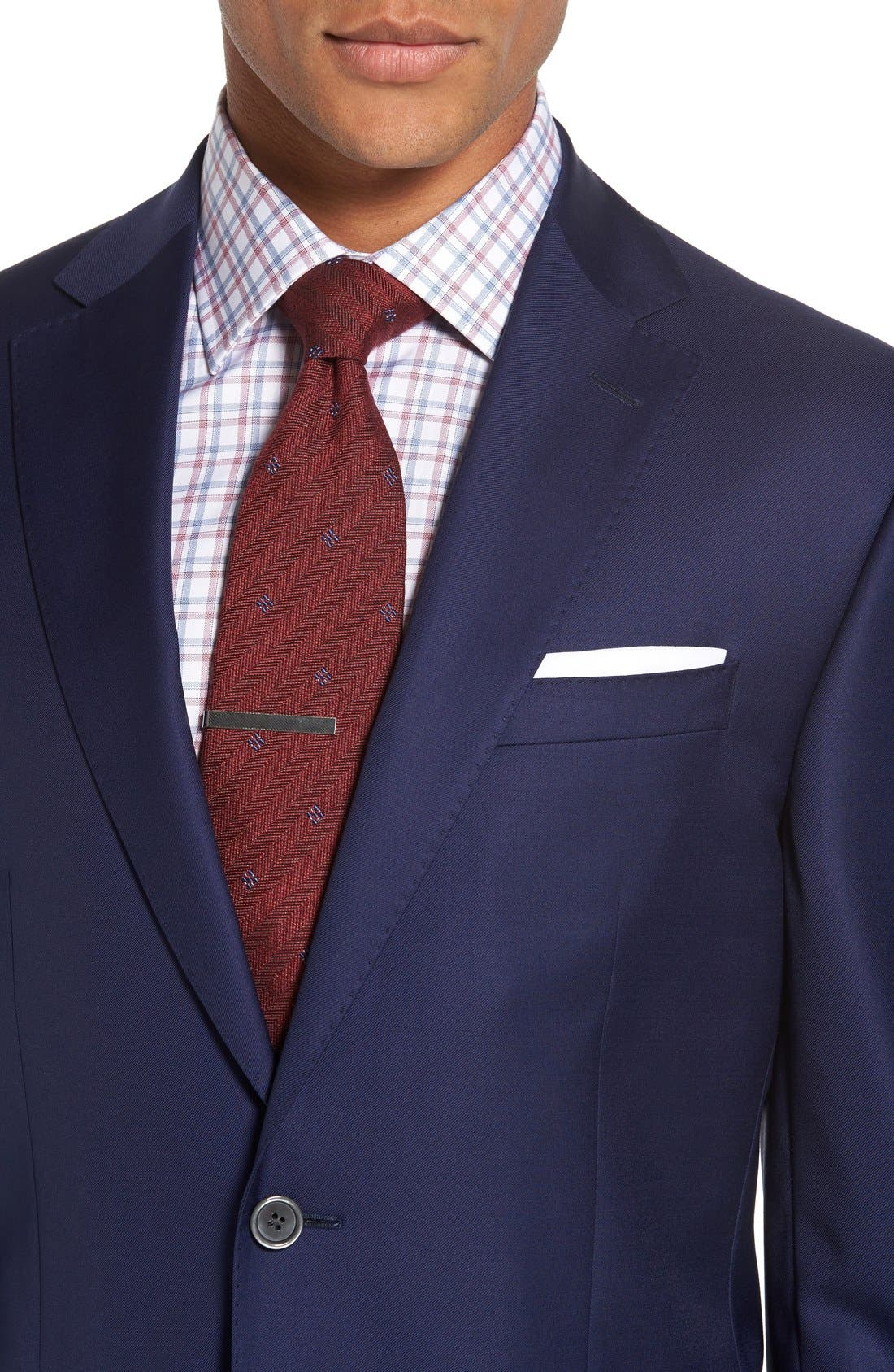 DAVID DONAHUE,                             'Connor' Classic Fit Solid Wool Sport Coat,                             Alternate thumbnail 4, color,                             NAVY