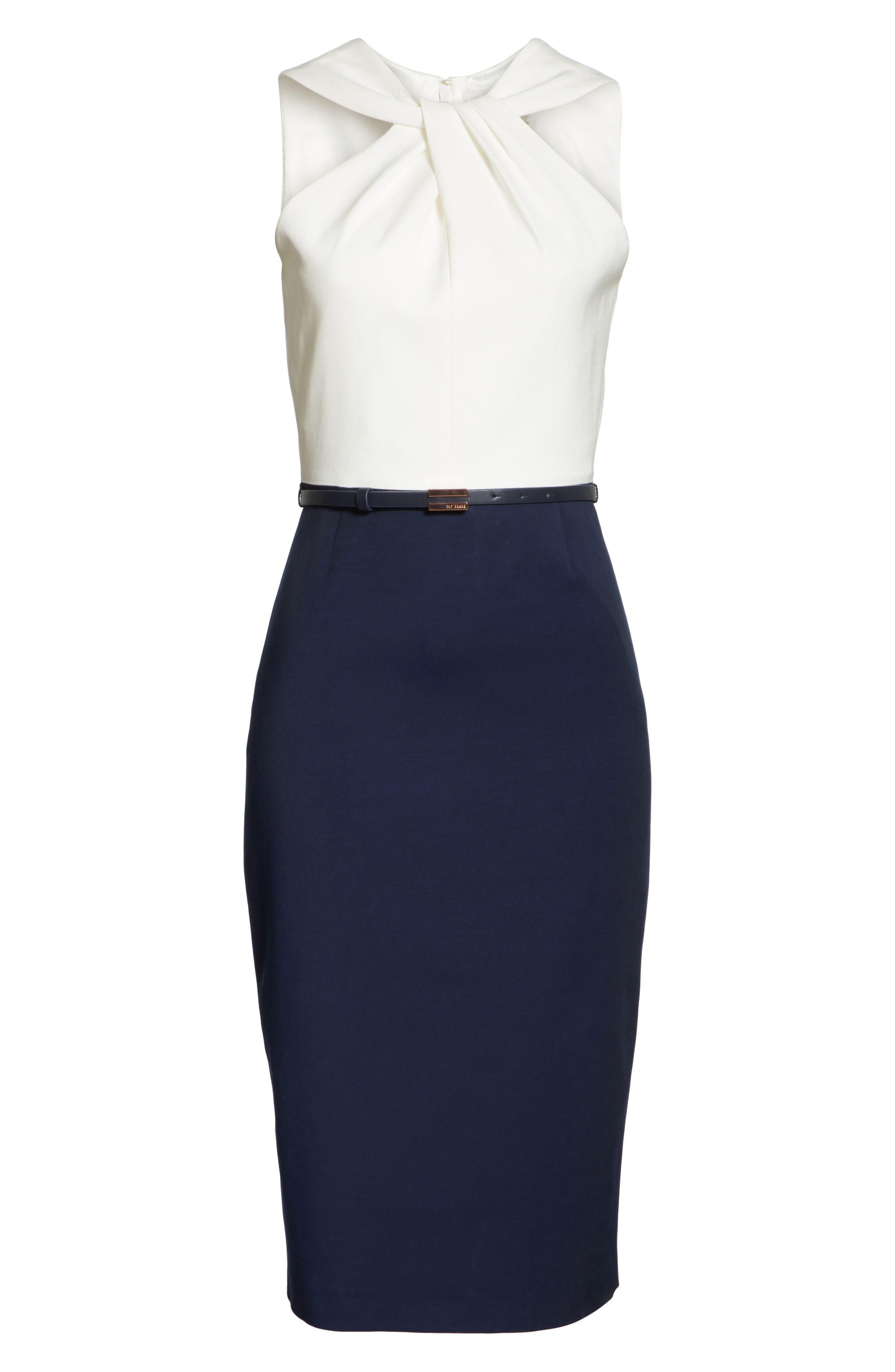 Twist Neck Belted Pencil Dress,                             Alternate thumbnail 6, color,                             402