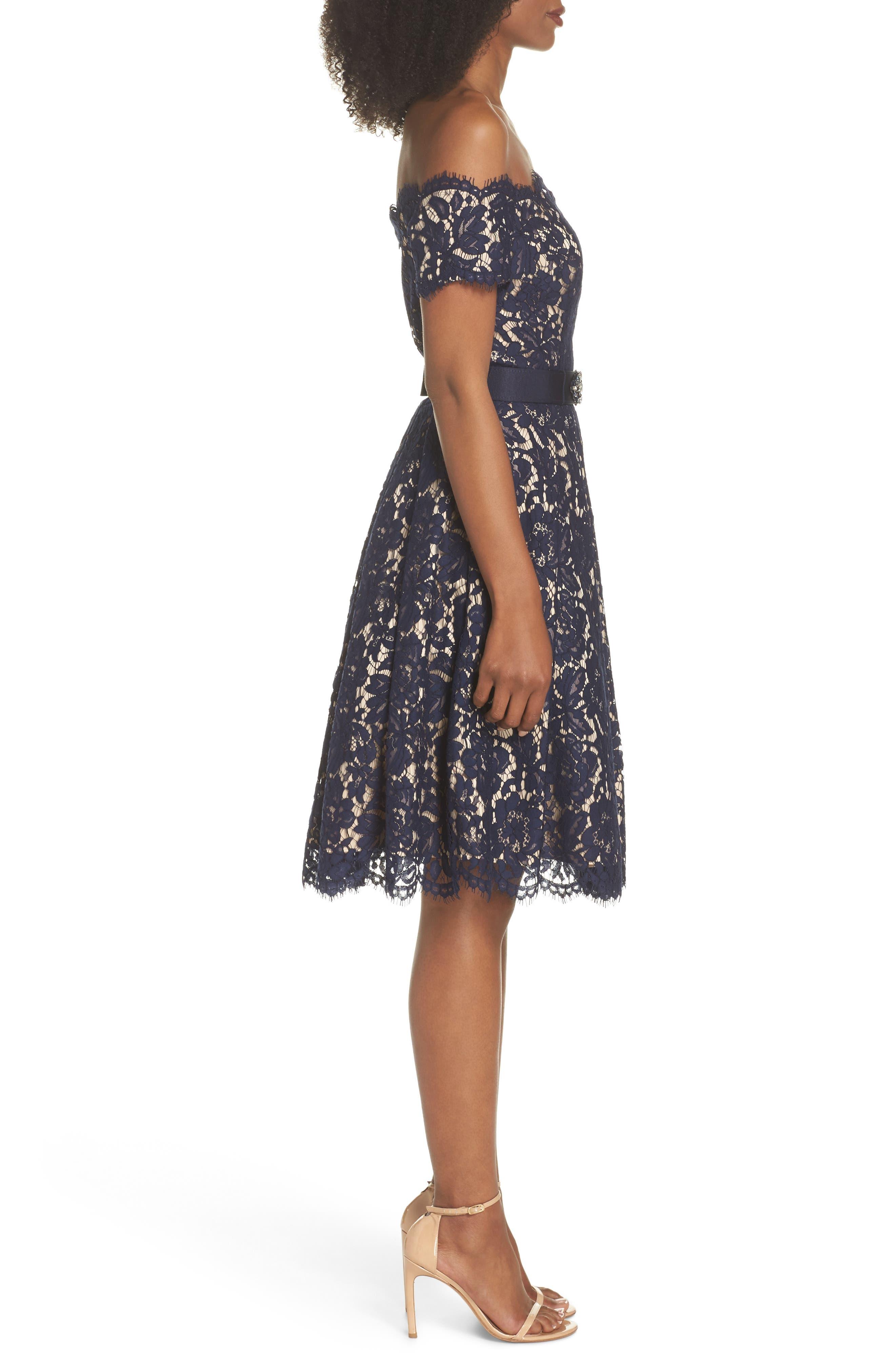 Embellished Lace Fit & Flare Dress,                             Alternate thumbnail 3, color,                             NAVY