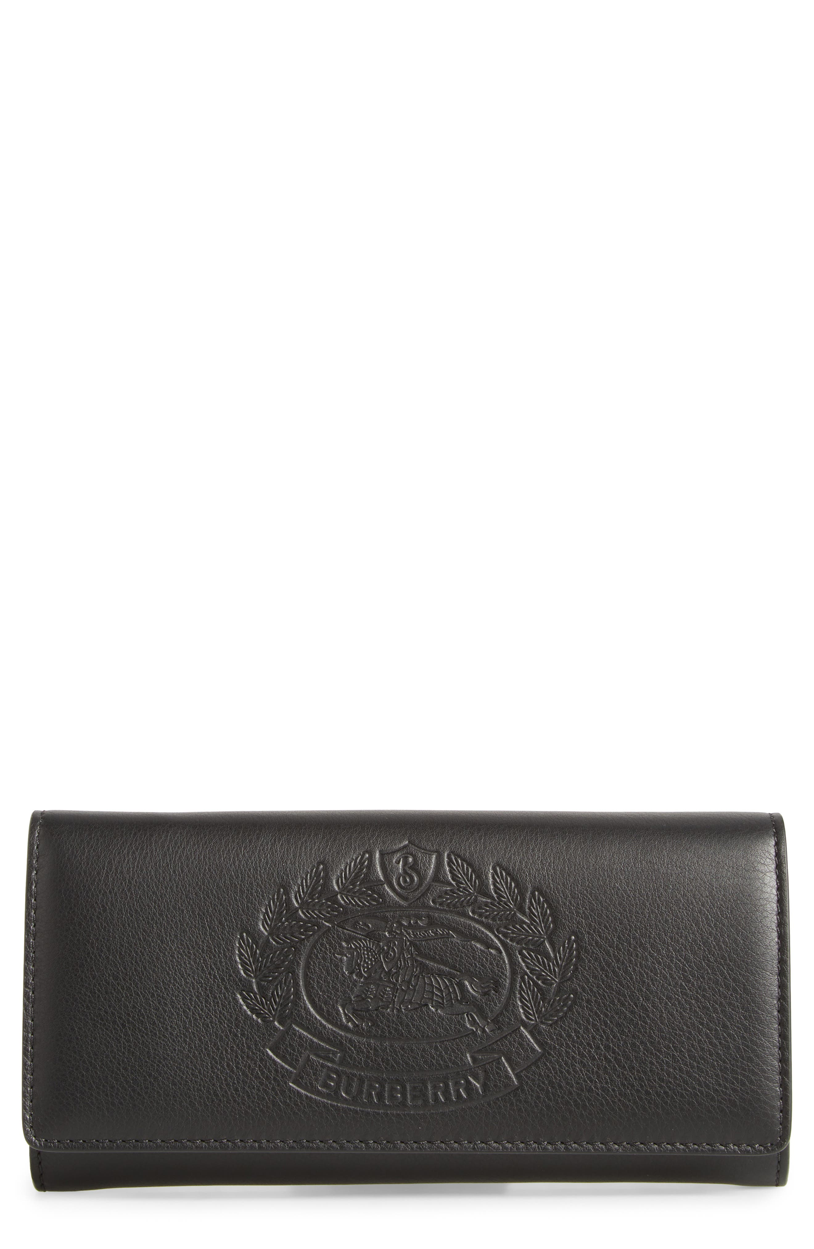Crest Embossed Leather Clutch,                             Main thumbnail 1, color,                             BLACK