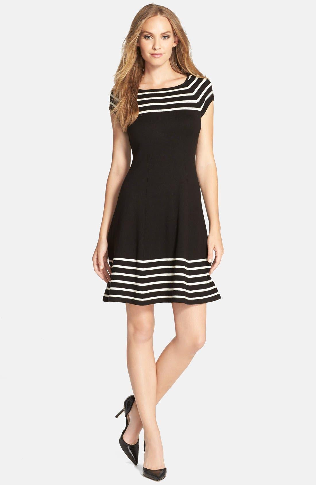 Stripe Knit Flared Dress,                             Alternate thumbnail 10, color,                             001
