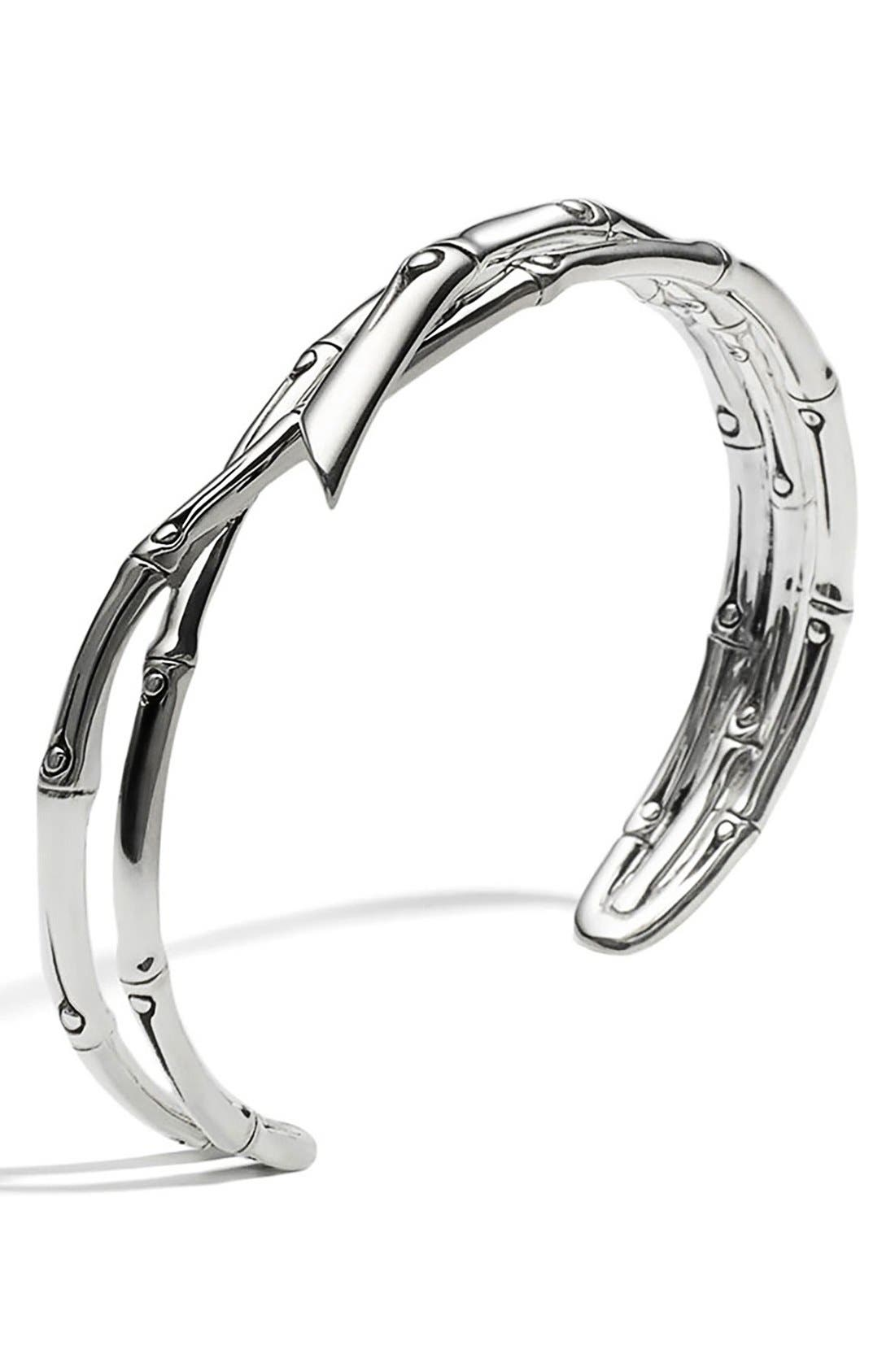 Women'S Sterling Silver Bamboo Narrow Squeeze Cuff