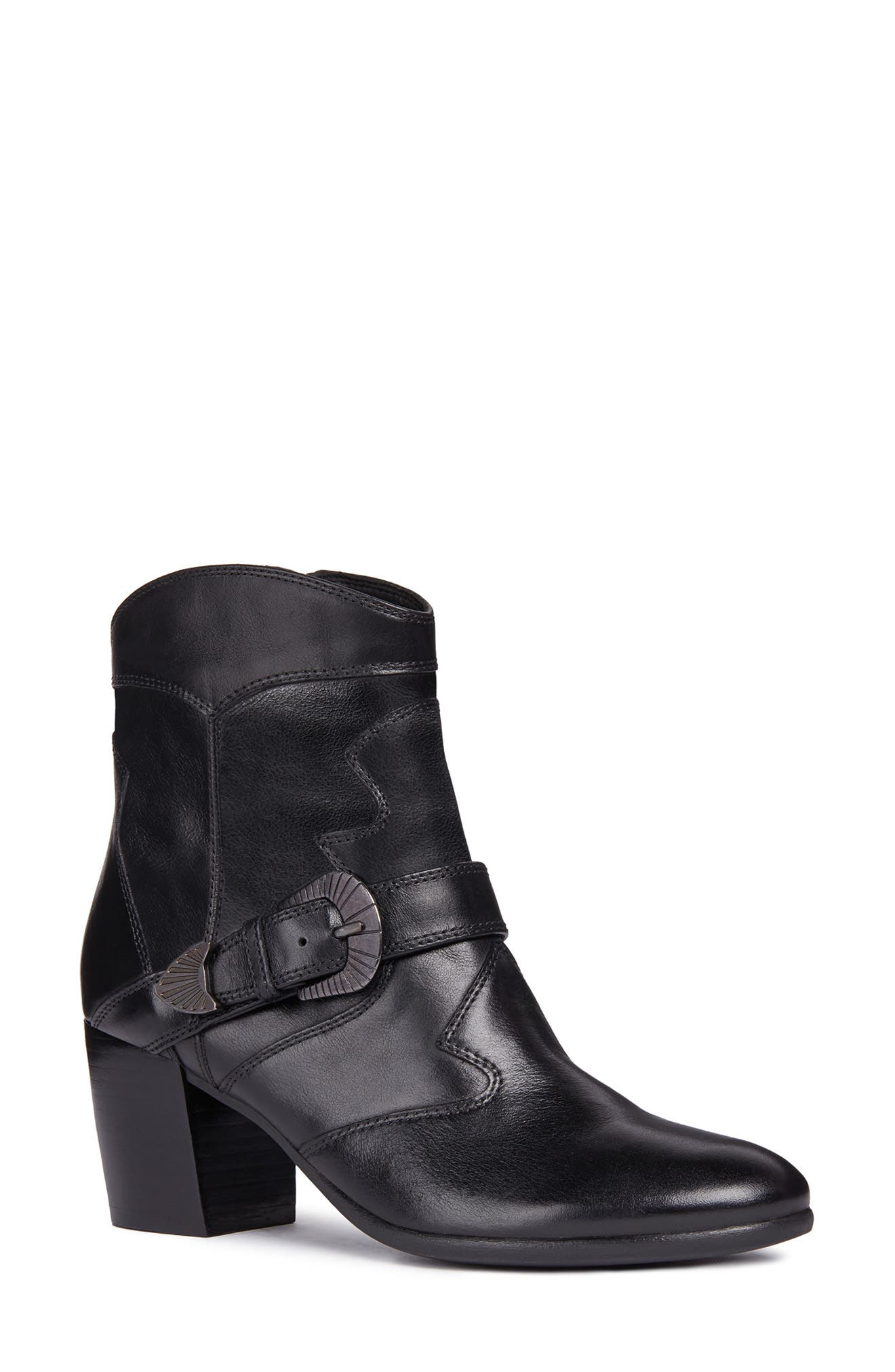 Lucinda Bootie,                             Main thumbnail 1, color,                             BLACK LEATHER