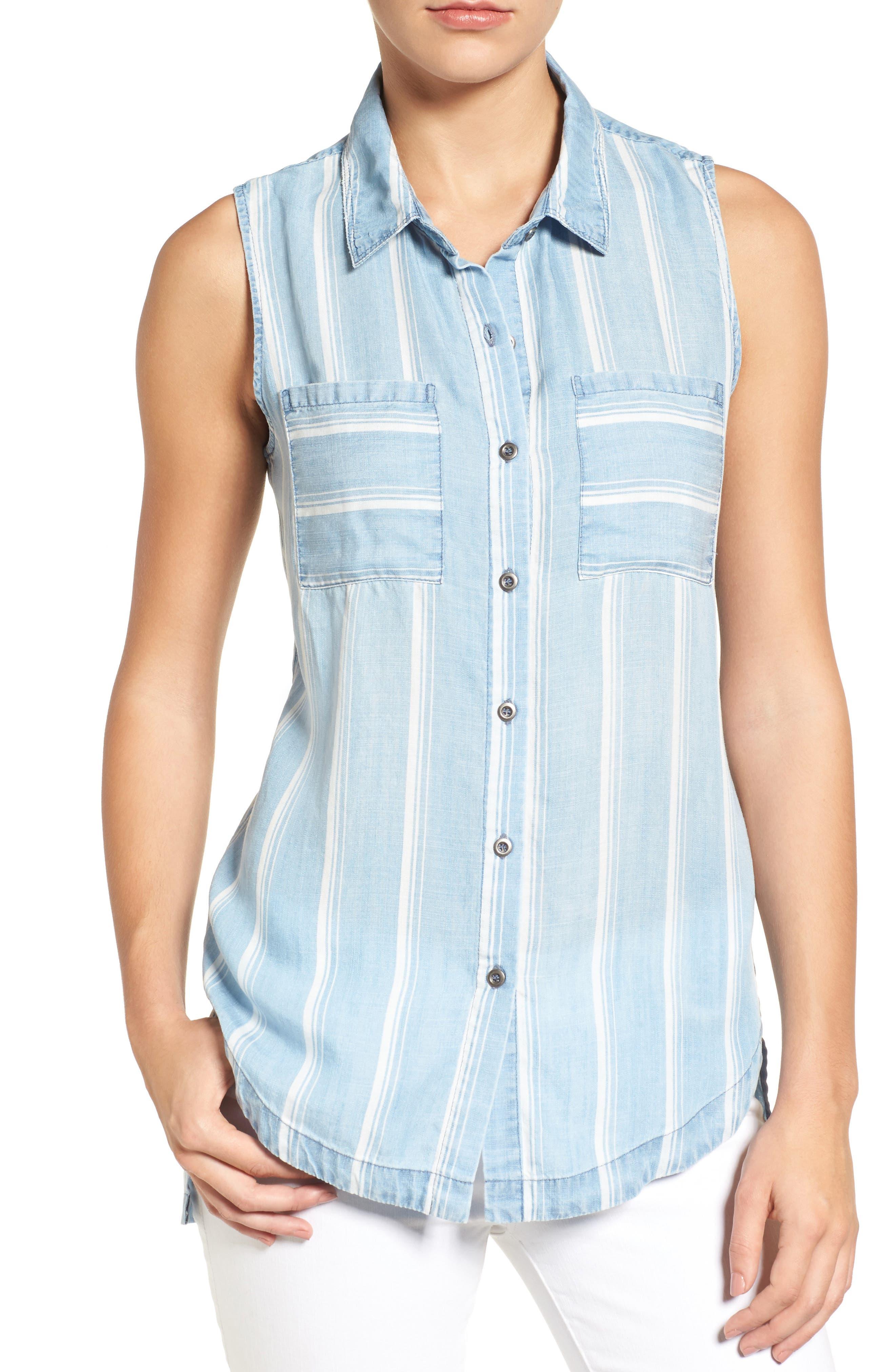 Cutout High/Low Chambray Shirt,                         Main,                         color, 400