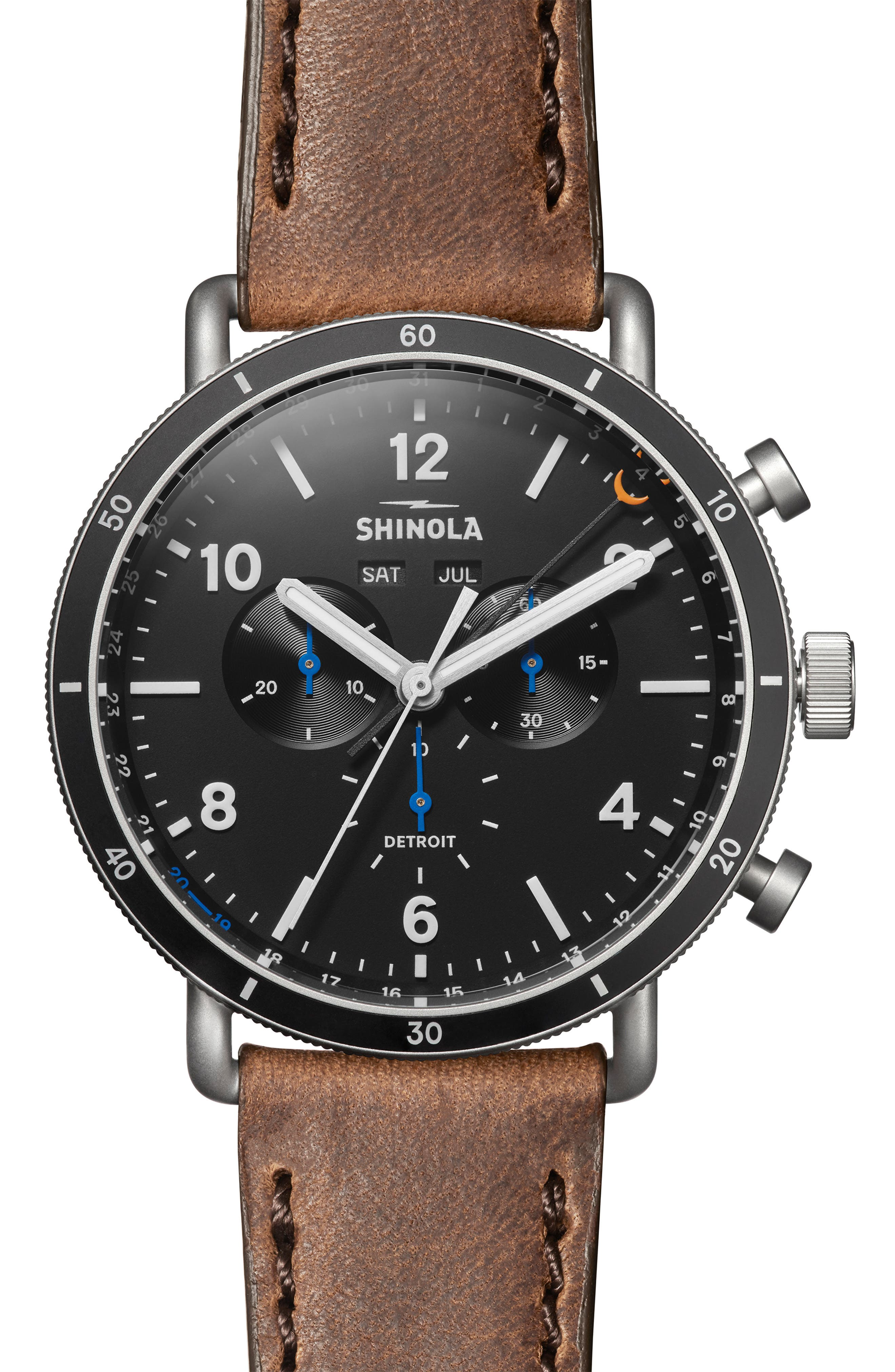 The Canfield Sport - Alan Bean Special Edition Chrongraph Leather Strap Watch,                         Main,                         color, TAN/ BLACK/ SILVER