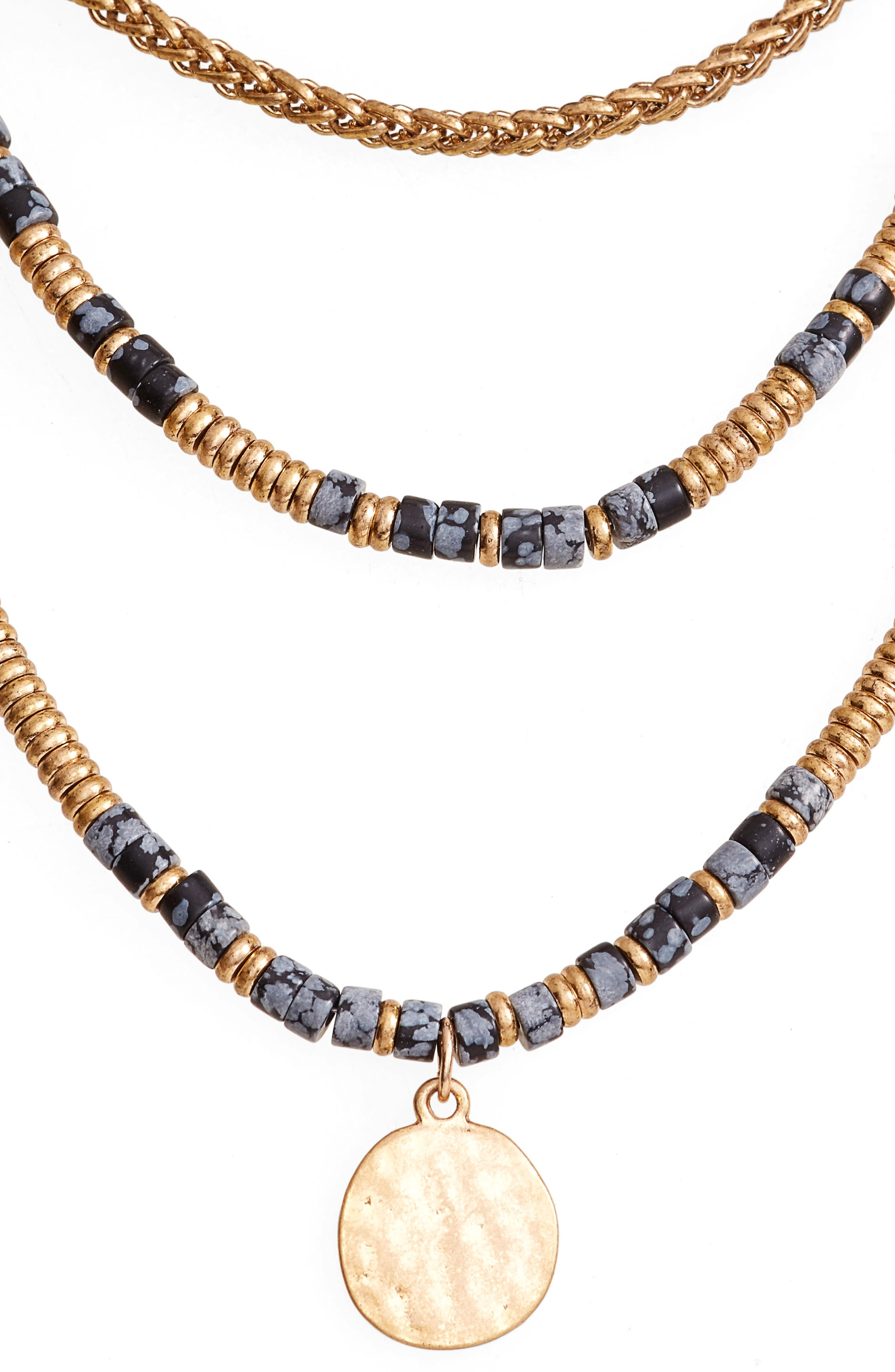 Beaded Frontal Necklace,                         Main,                         color, 001
