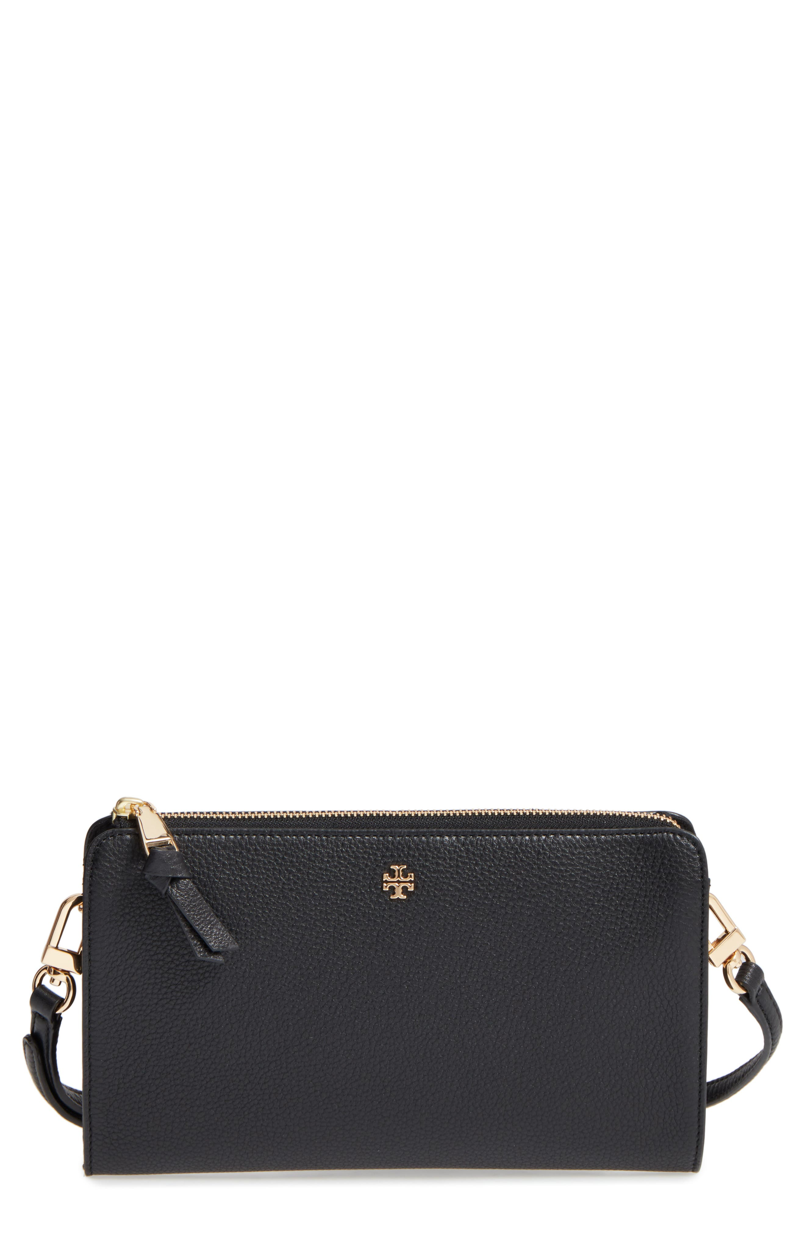 620e393bb798e 190041500635. Women s Tory Burch Robinson Leather Wallet On A Chain - Black