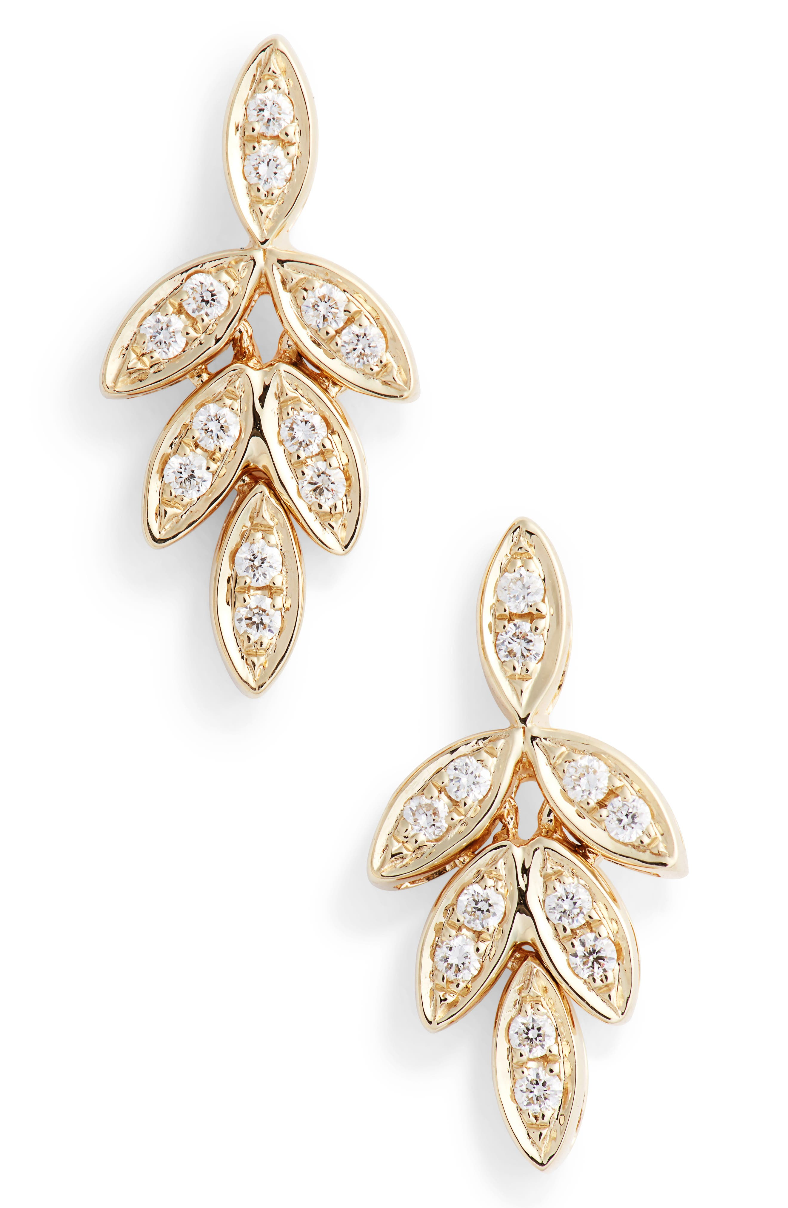Dana Rebecca Lori Paige Diamond Leaf Stud Earrings, Main, color, 710