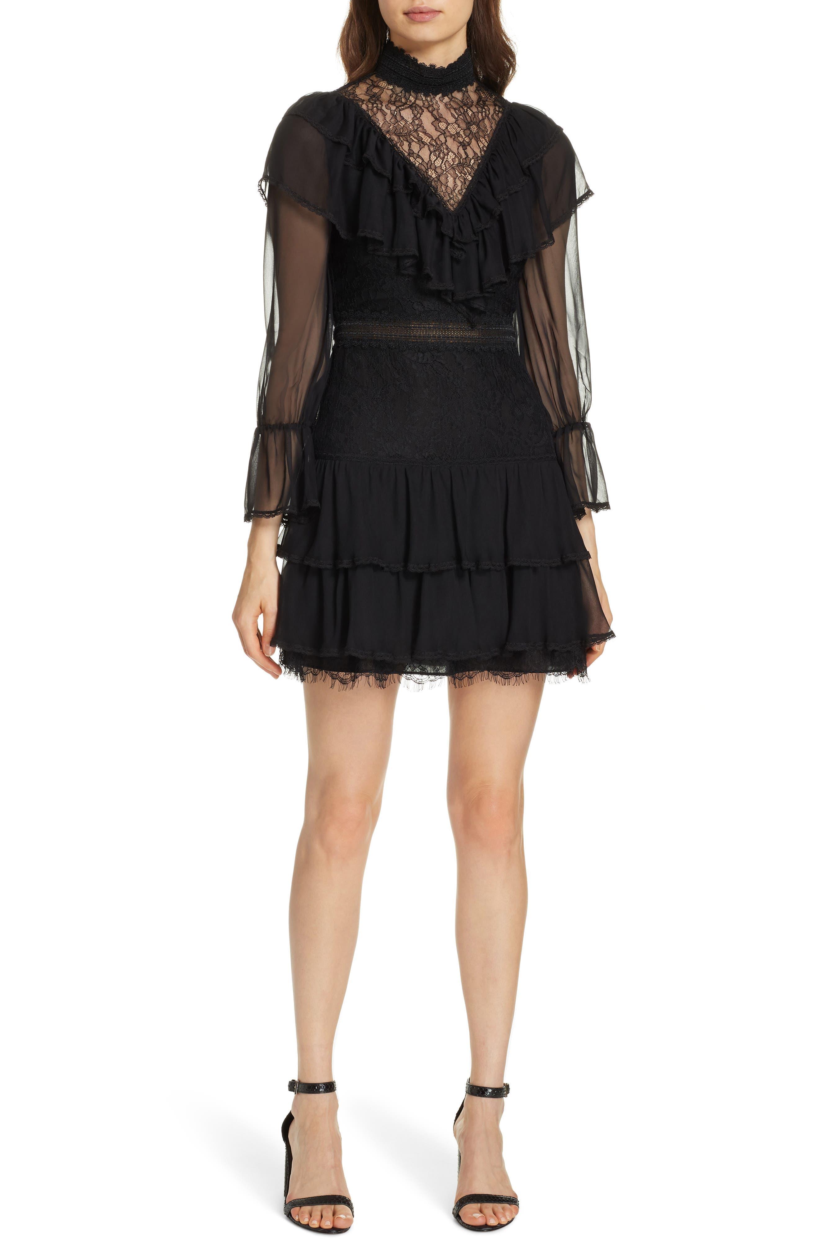 Alice + Olivia Clea Tiered Ruffle Dress, Black