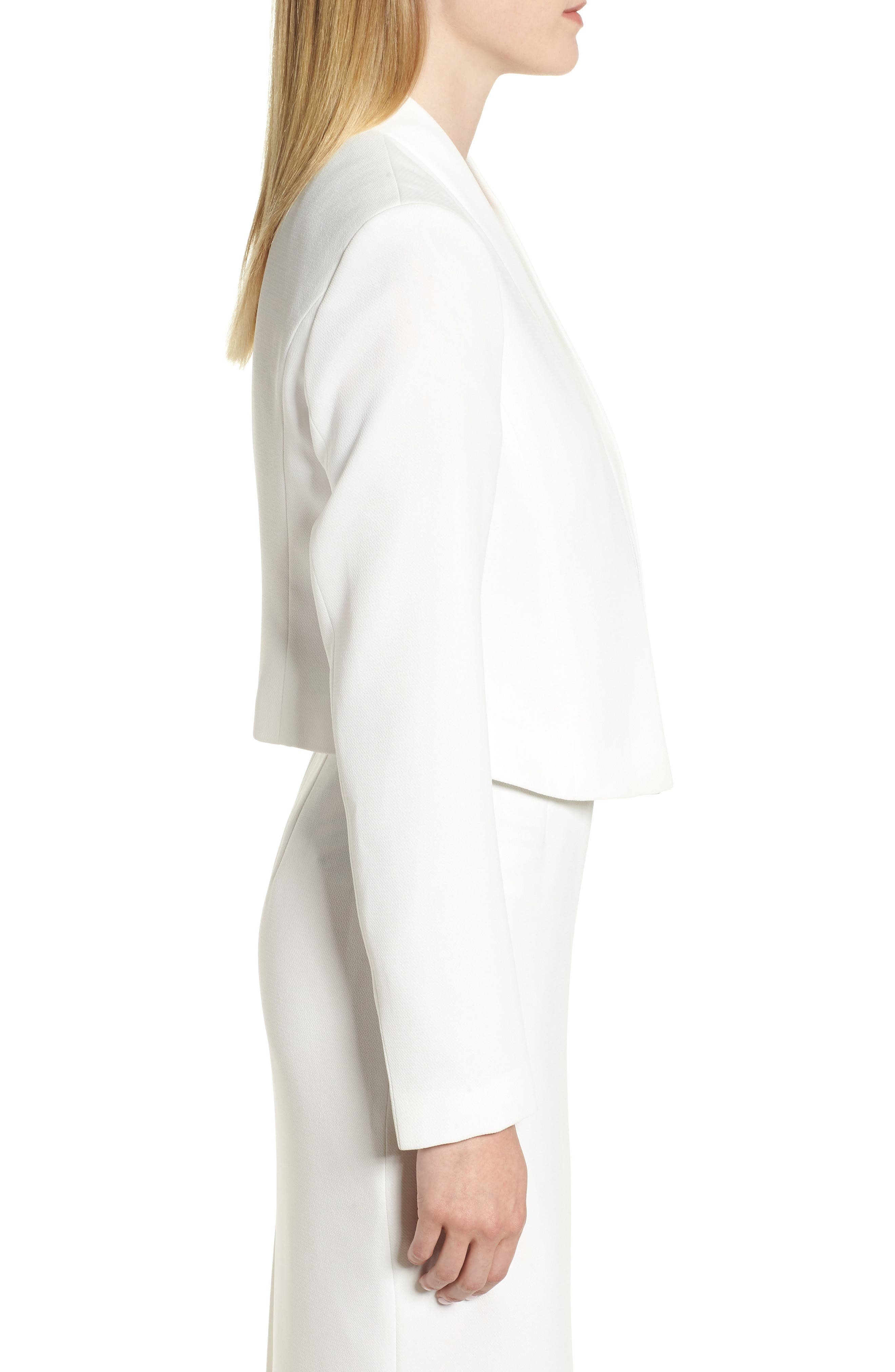 Jasika Crop Suit Jacket,                             Alternate thumbnail 3, color,                             VANILLA LIGHT