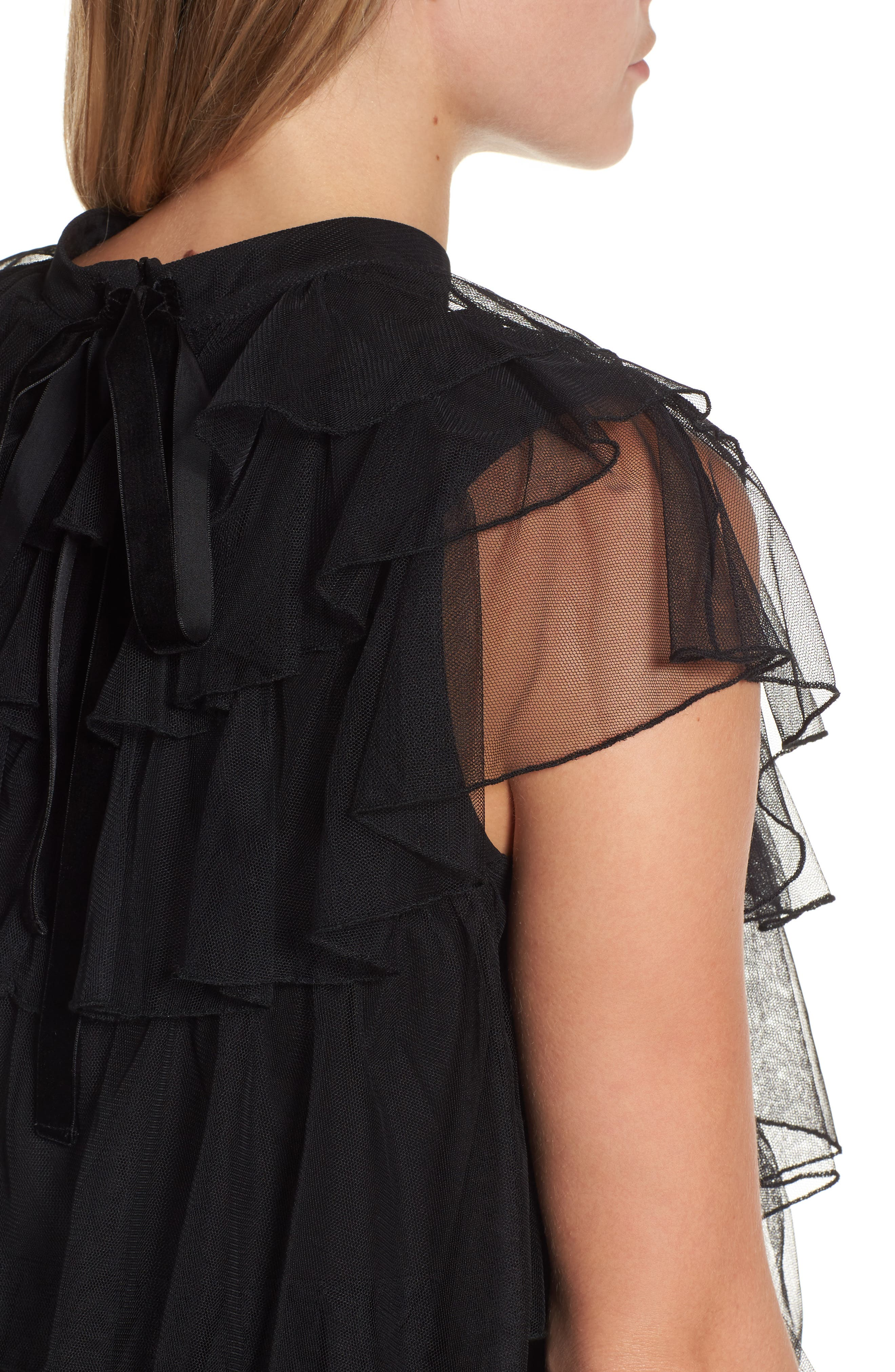 Tie Back Tiered Mesh Top,                             Alternate thumbnail 4, color,                             001