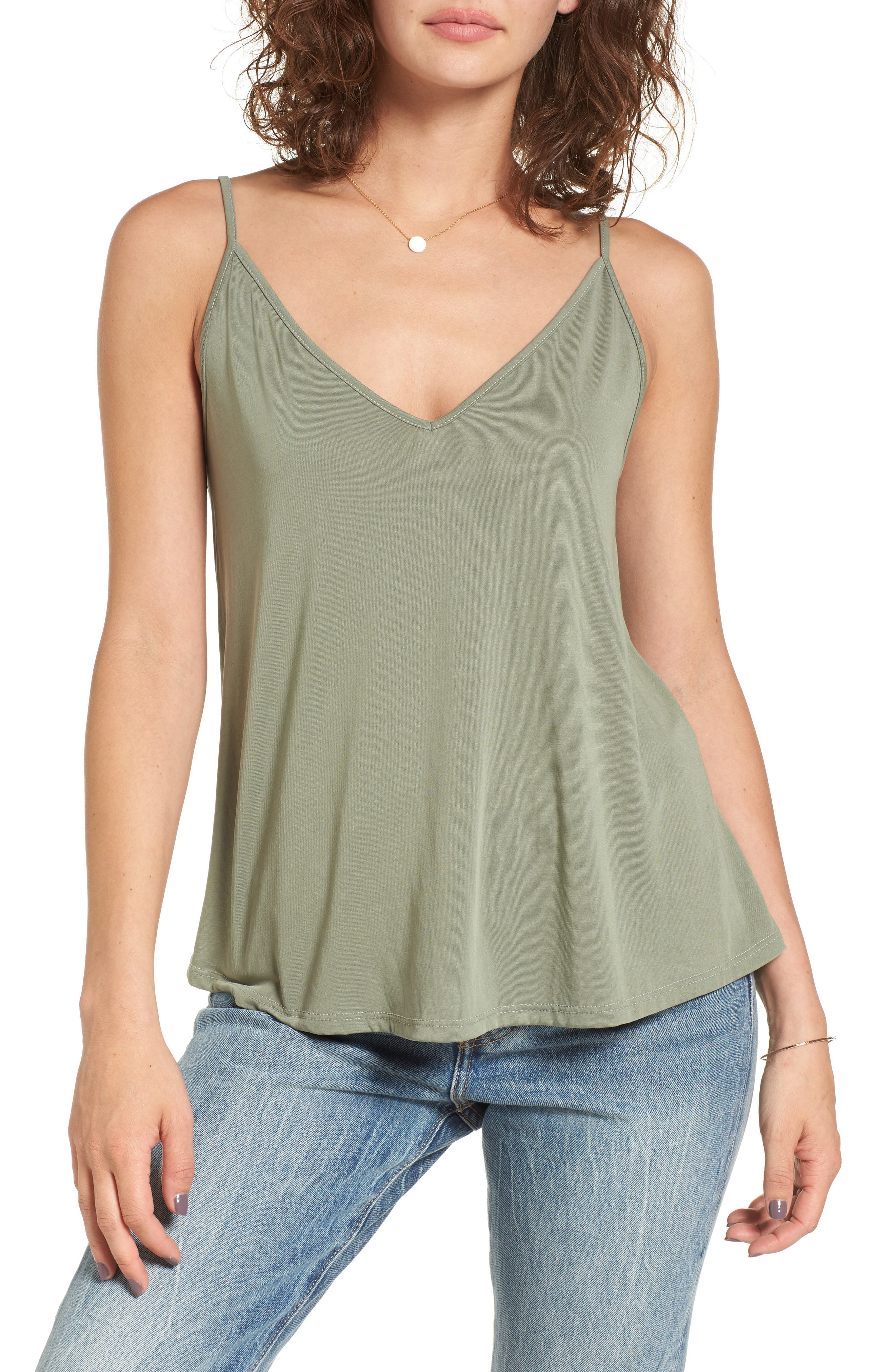 Double V Swing Camisole,                         Main,                         color, OLIVE BURNT