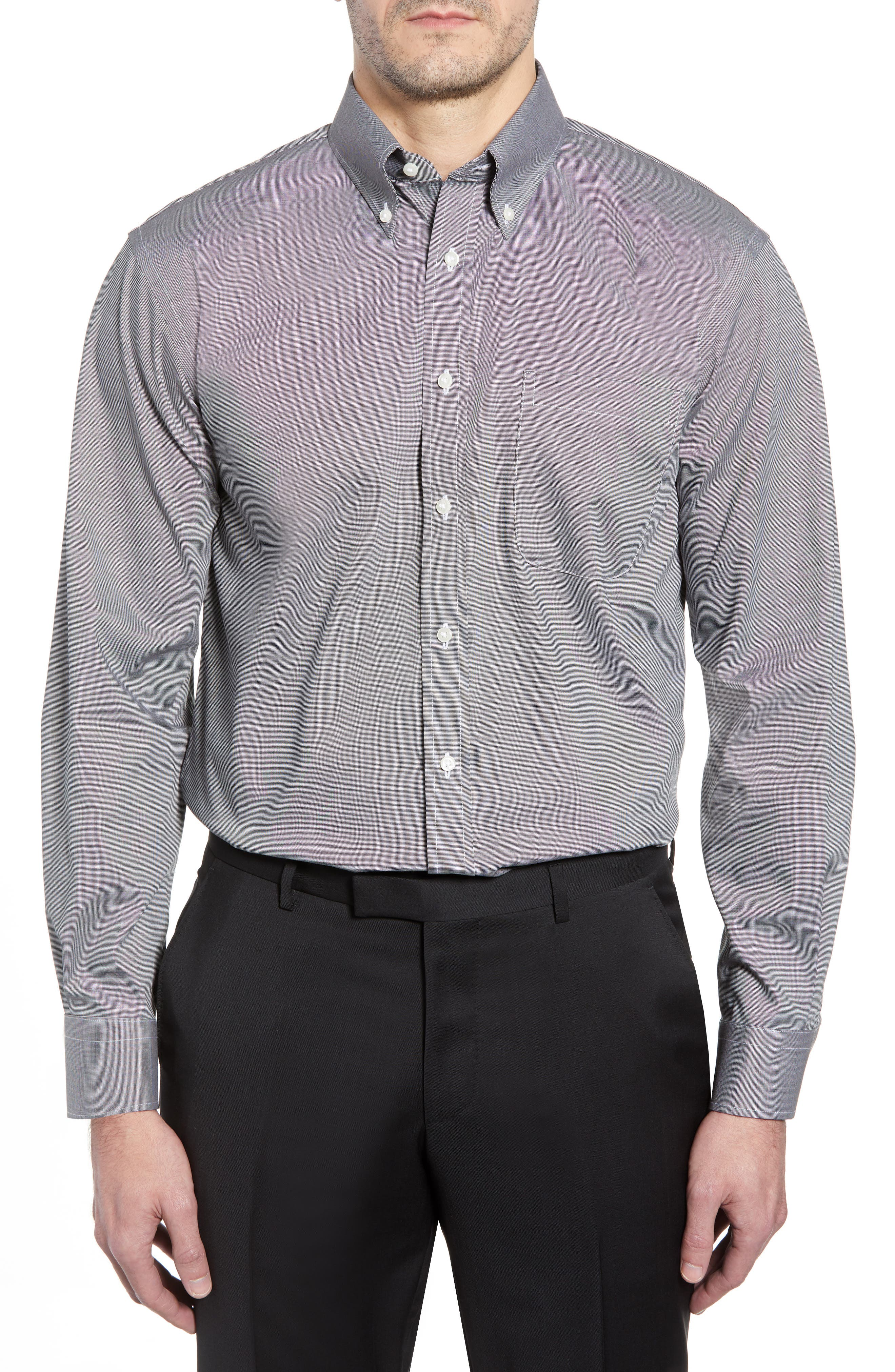 Traditional Fit Non-Iron Solid Dress Shirt,                             Alternate thumbnail 2, color,                             BLACK ROCK