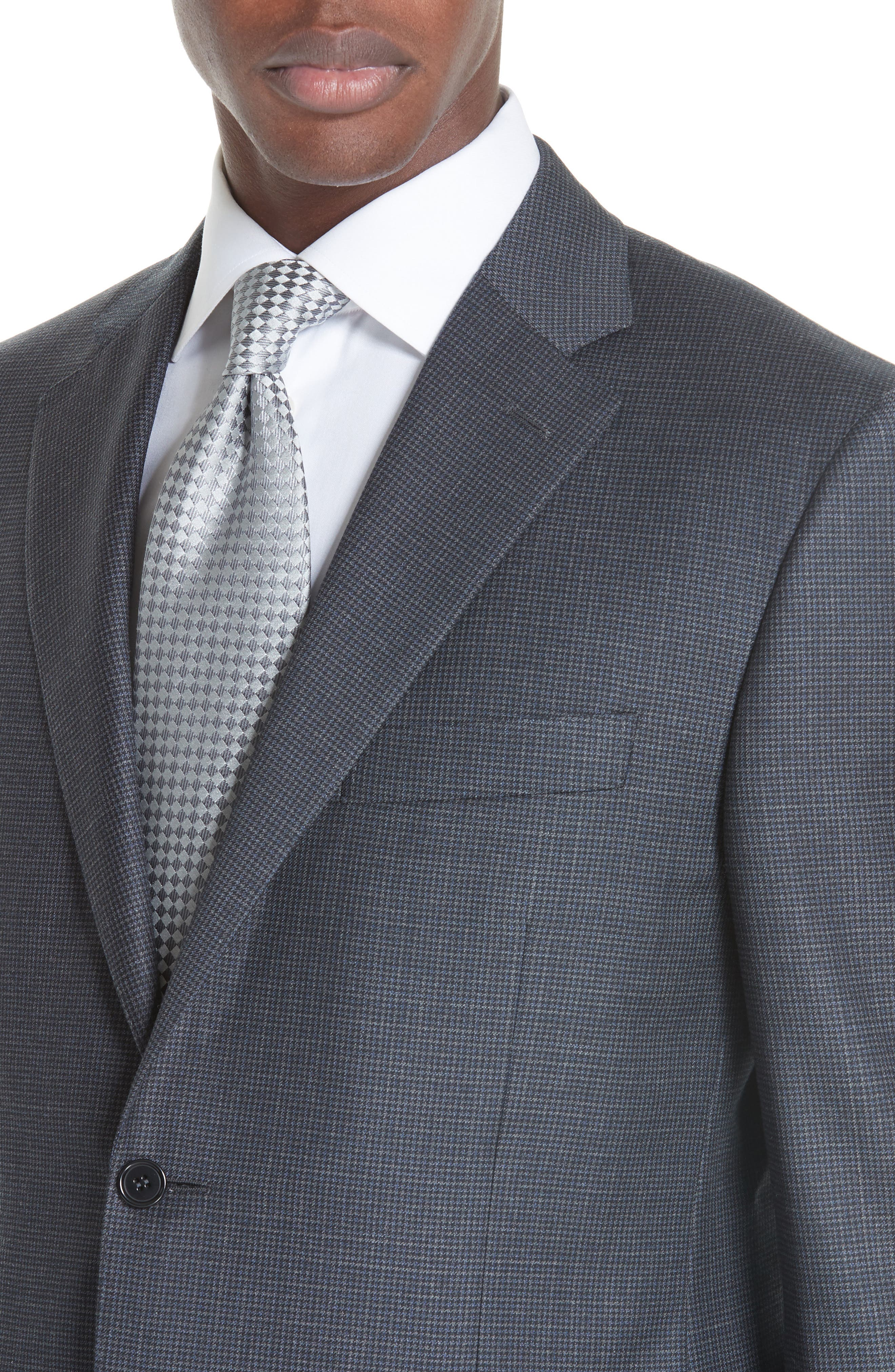 Classic Fit Houndstooth Wool Suit,                             Alternate thumbnail 4, color,                             DARK GREY