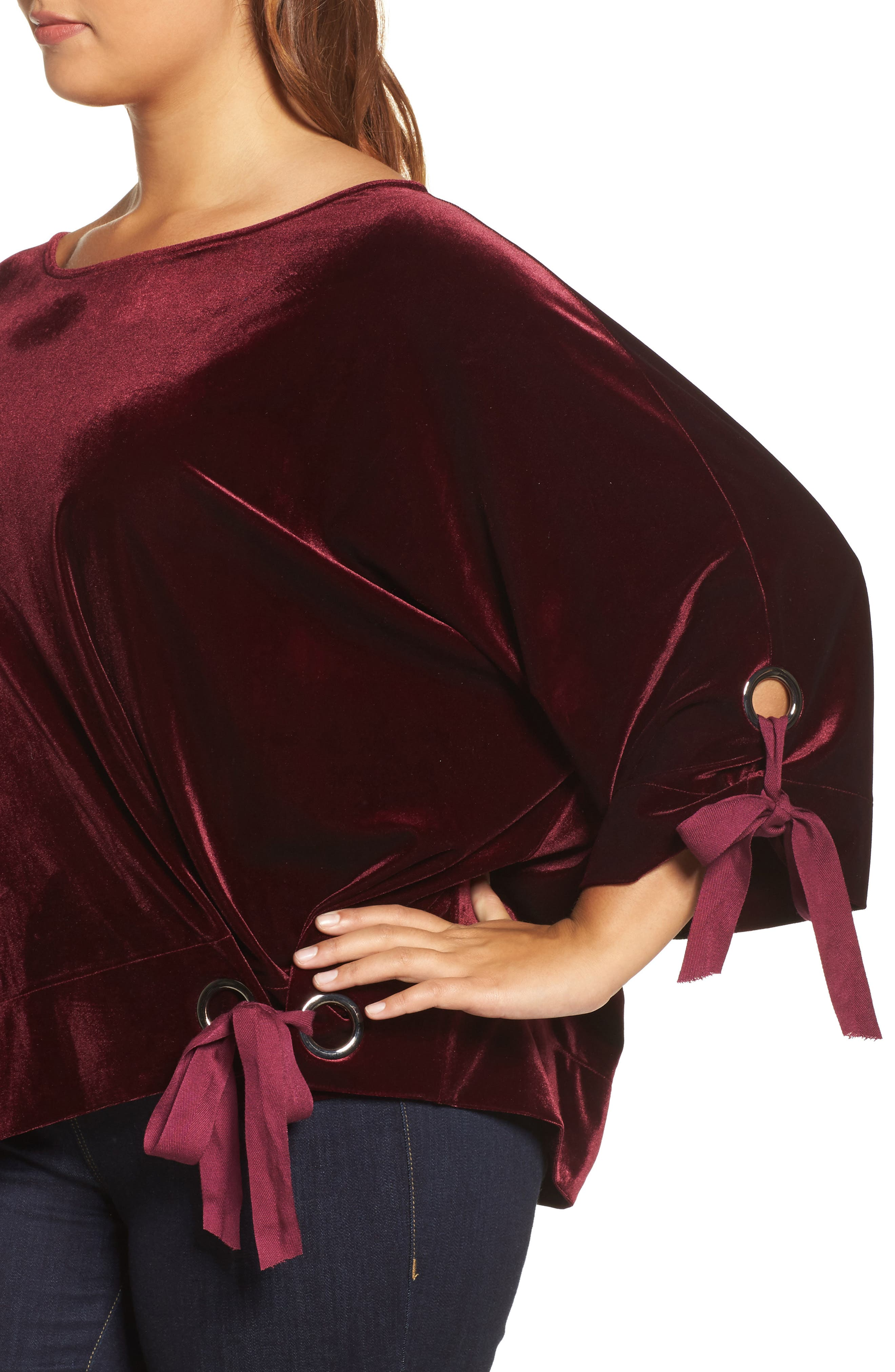 Grommet Detail Velvet Top,                             Alternate thumbnail 4, color,