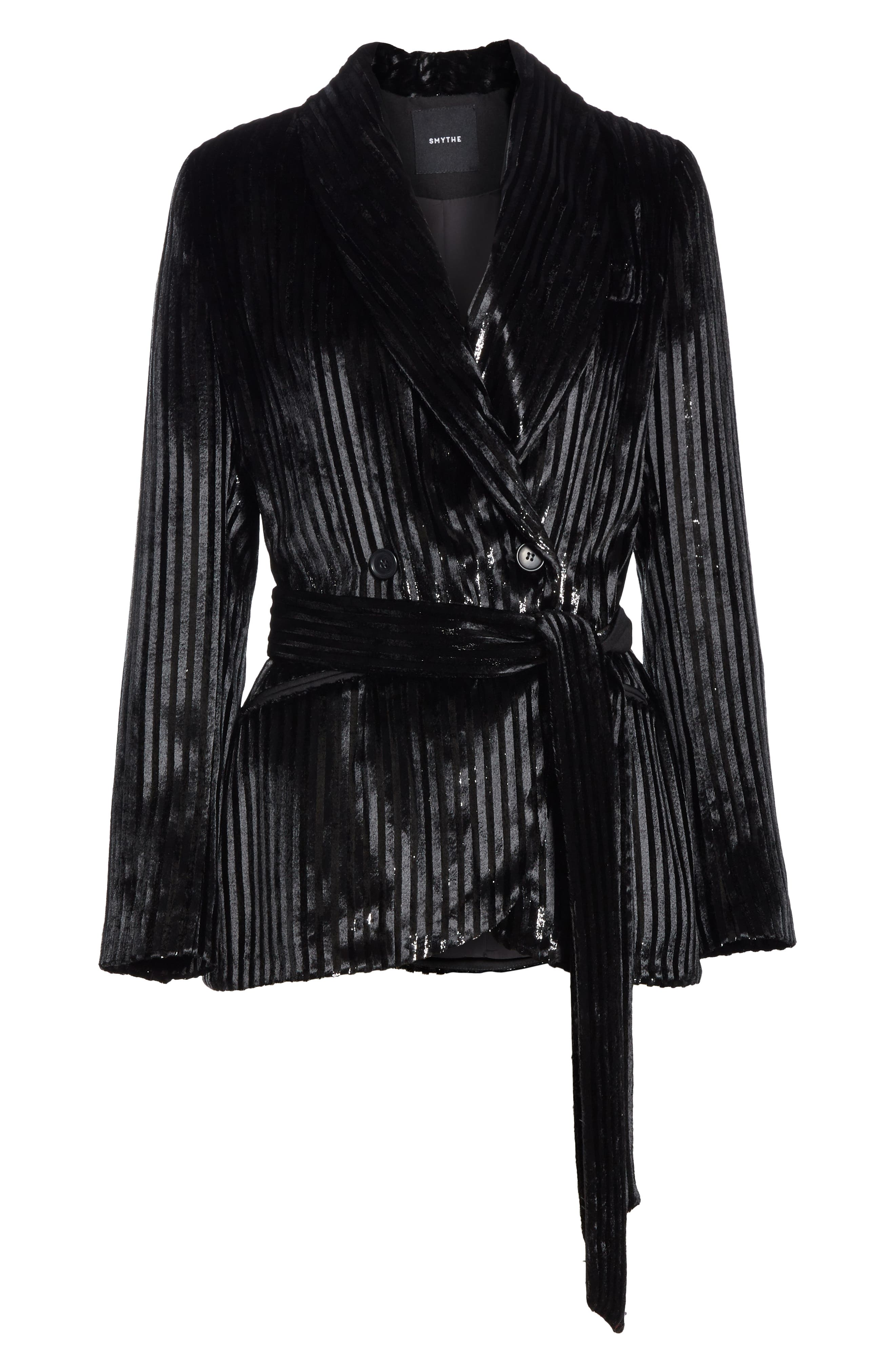 Velvet Stripe Tie Waist Blazer,                             Alternate thumbnail 5, color,                             BLACK LAME STRIPE
