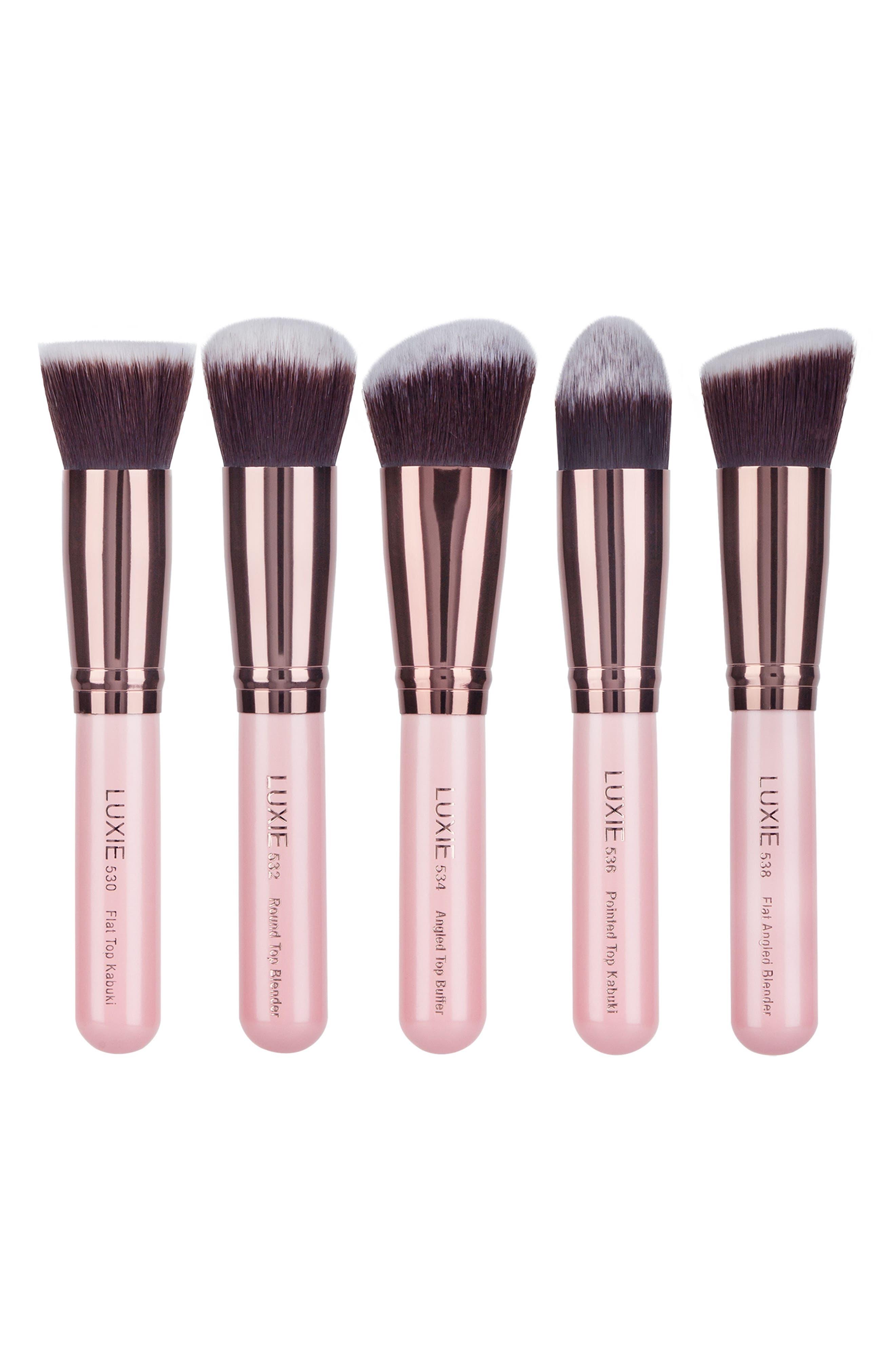 Rose Gold 5-Piece Kabuki Brush Set, Main, color, NO COLOR