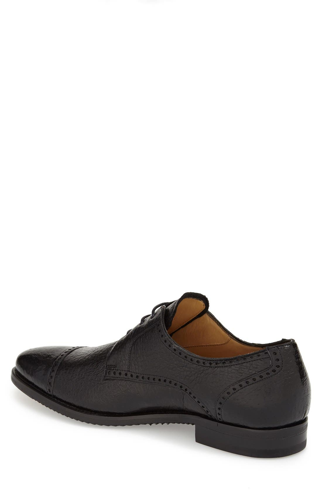 'Capri' Cap Toe Derby,                             Alternate thumbnail 2, color,                             BLACK