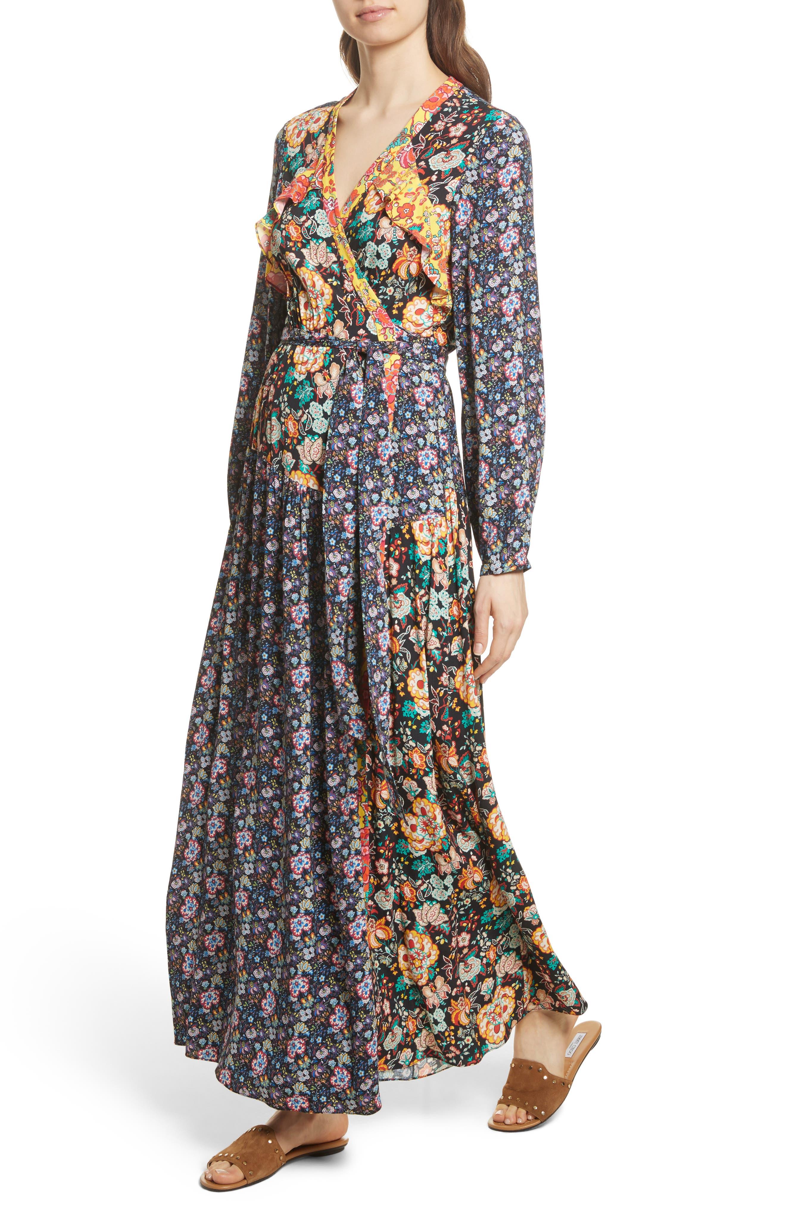 Mixed Floral Wrap Dress,                             Alternate thumbnail 4, color,