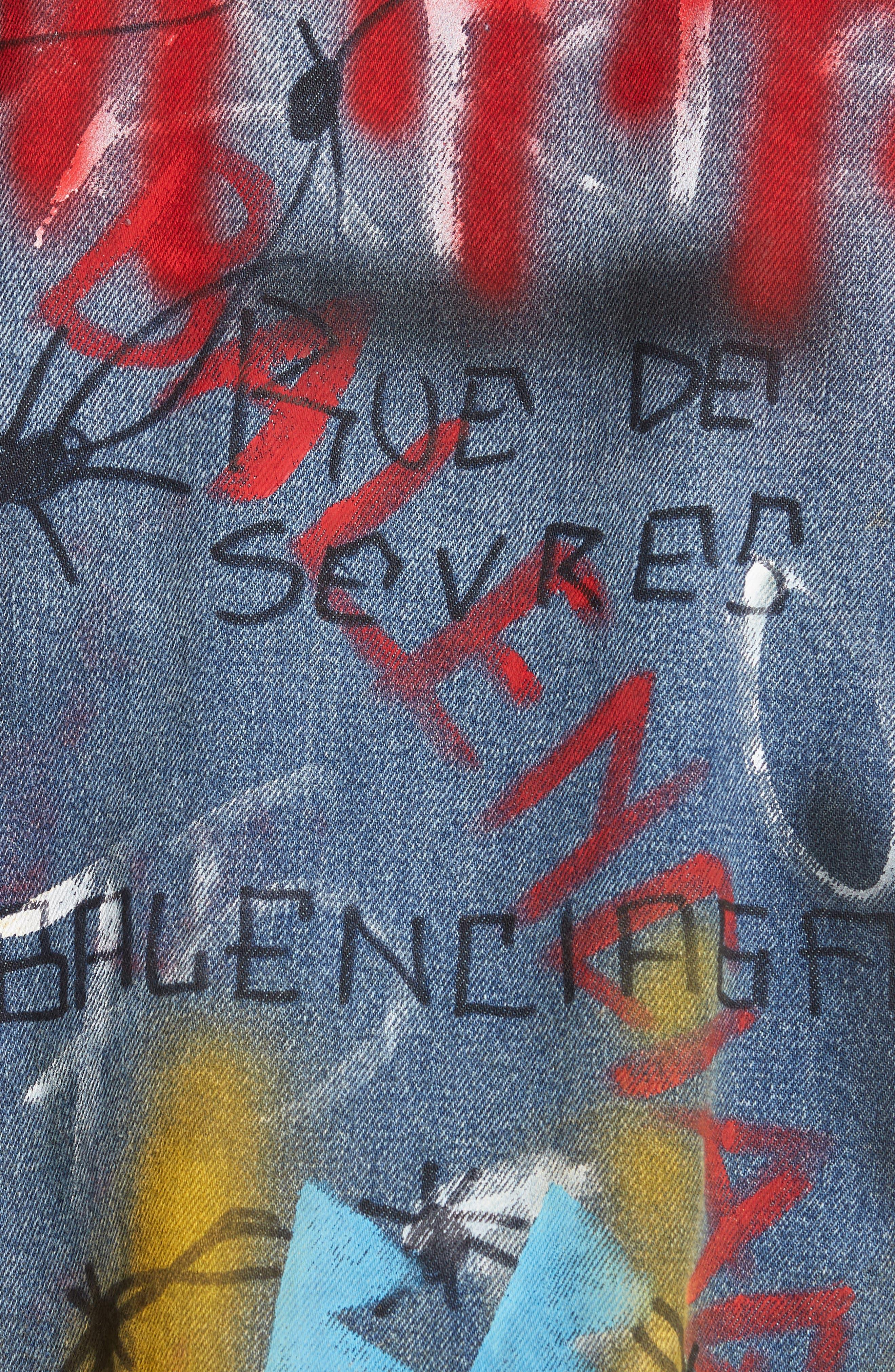 Graffiti Print Denim Jacket,                             Alternate thumbnail 6, color,                             400