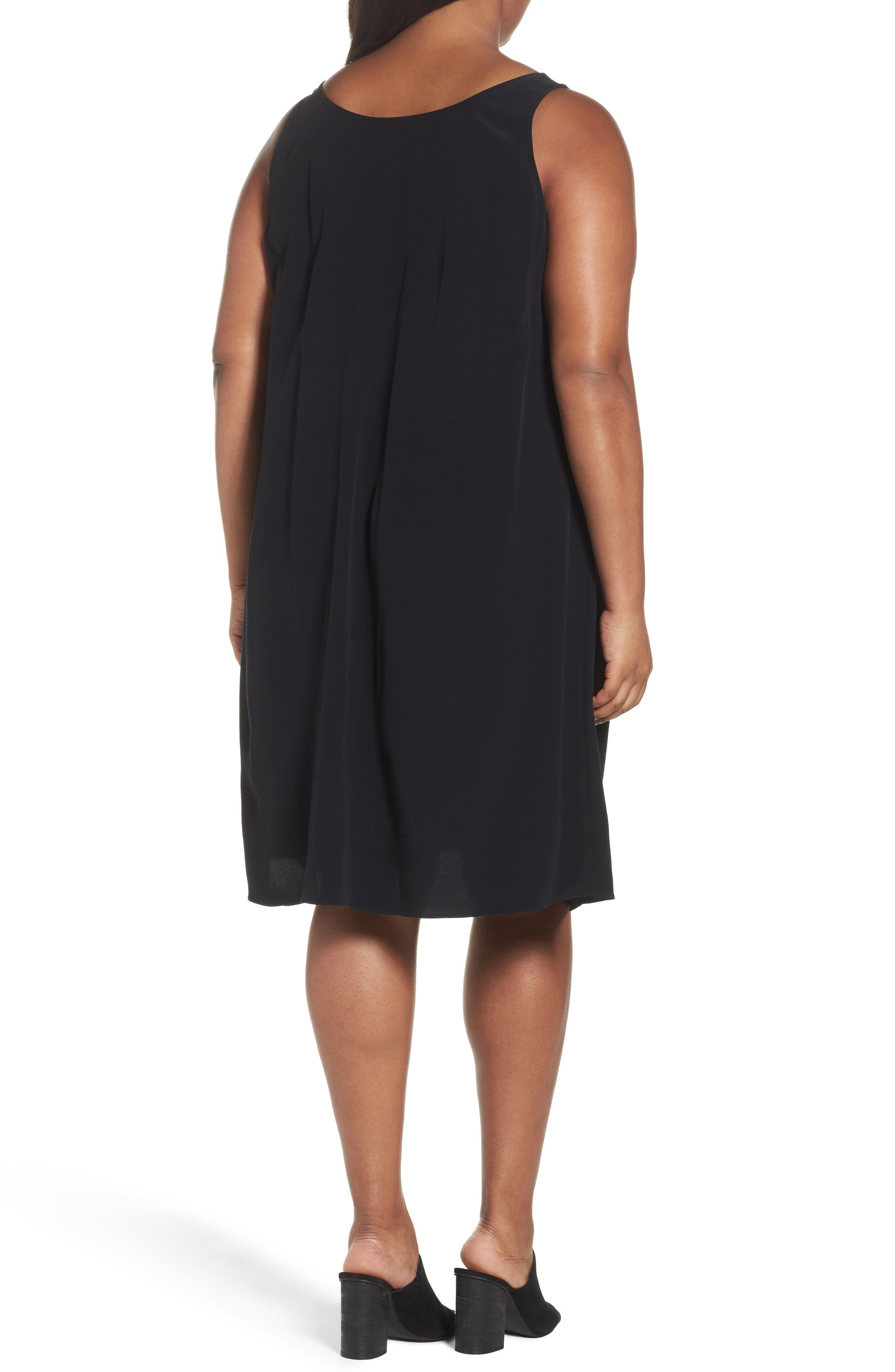 Tencel<sup>®</sup> Blend A-Line Shift Dress,                             Alternate thumbnail 2, color,                             001