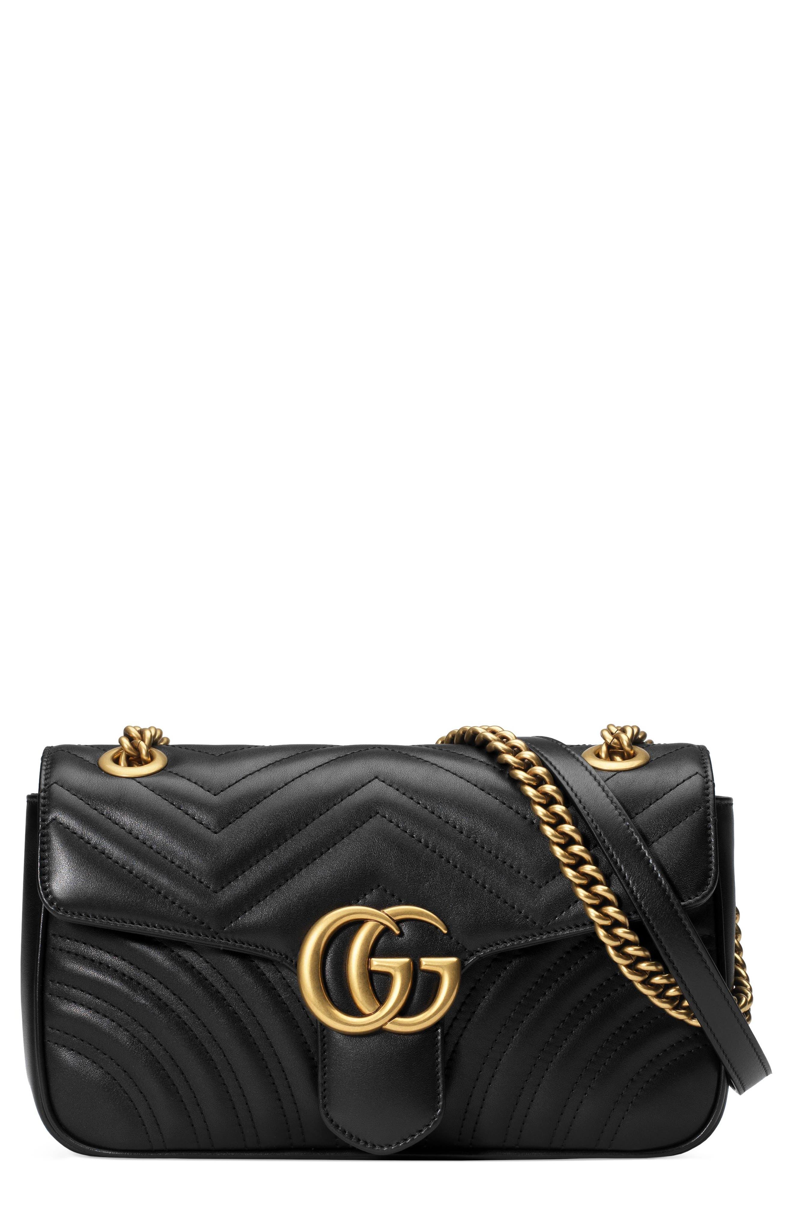 Small GG Marmont 2.0 Matelassé Leather Shoulder Bag,                             Main thumbnail 1, color,                             NERO/ NERO